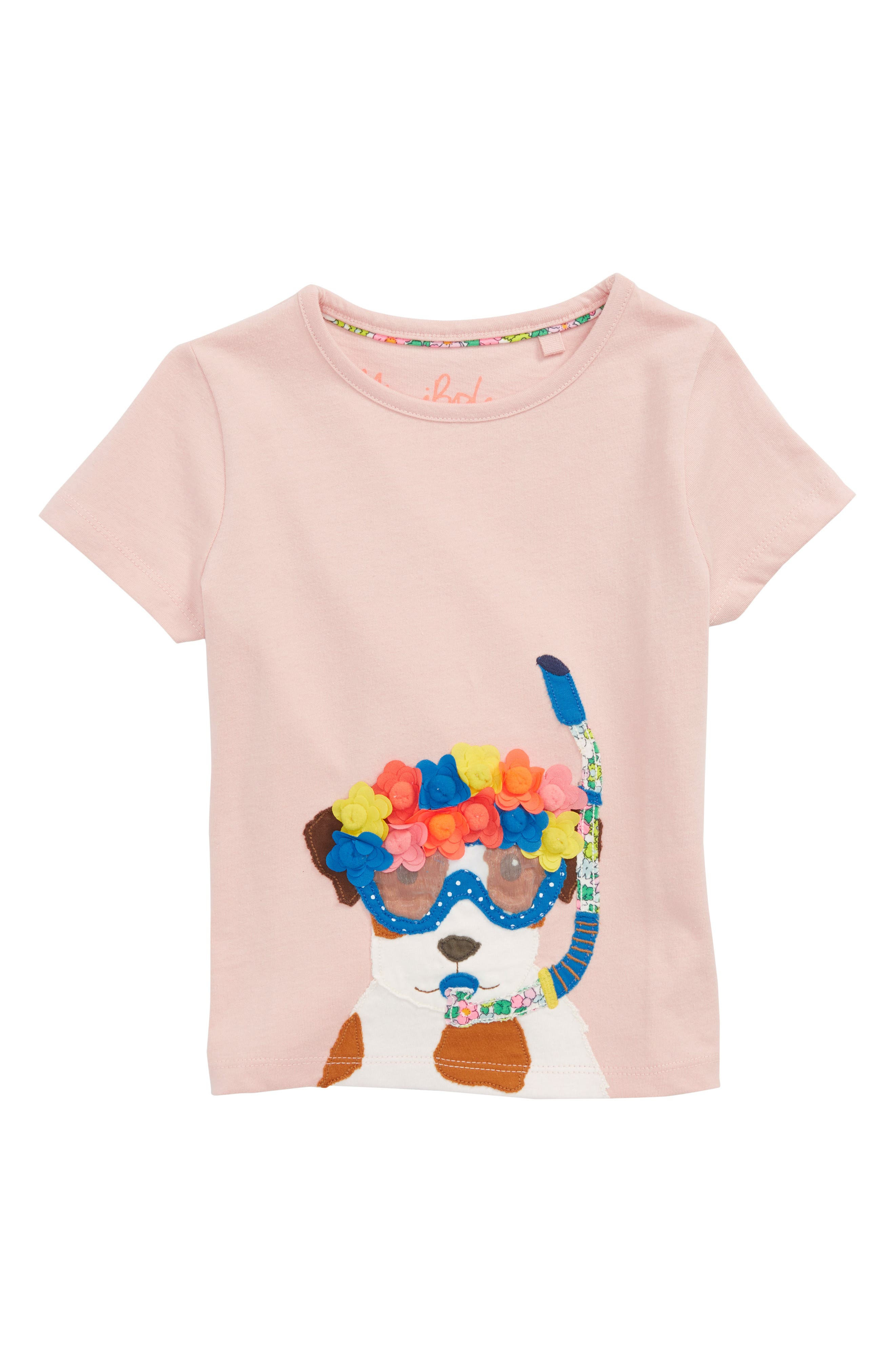 Fun Animal Appliqué Tee,                         Main,                         color, Provence Dusty Pink Sprout Pnk