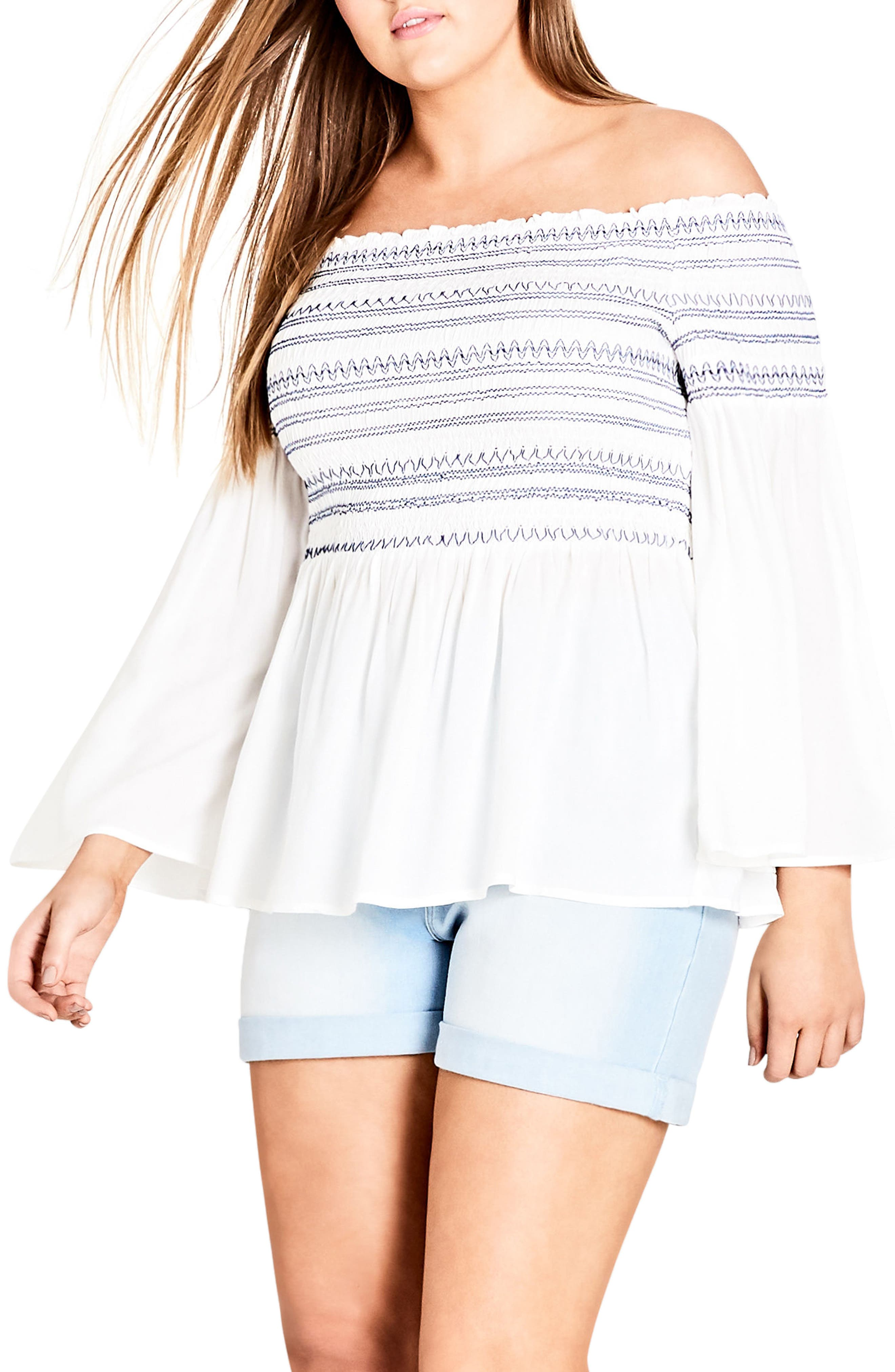 Smocked Off the Shoulder Top,                         Main,                         color, White