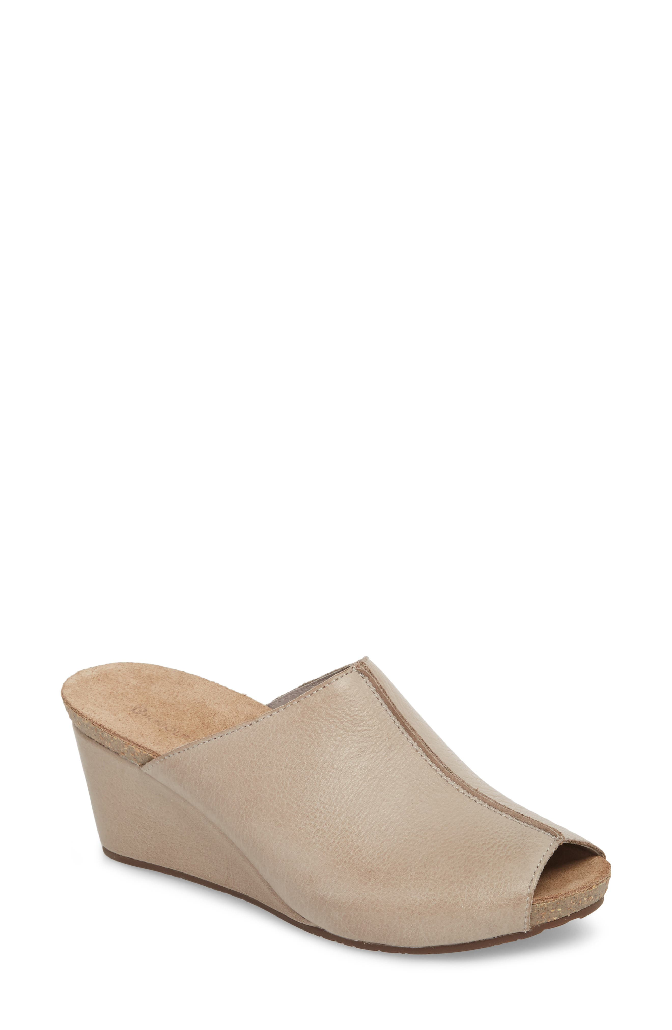 Elden Wedge Mule,                             Main thumbnail 1, color,                             Grey Leather
