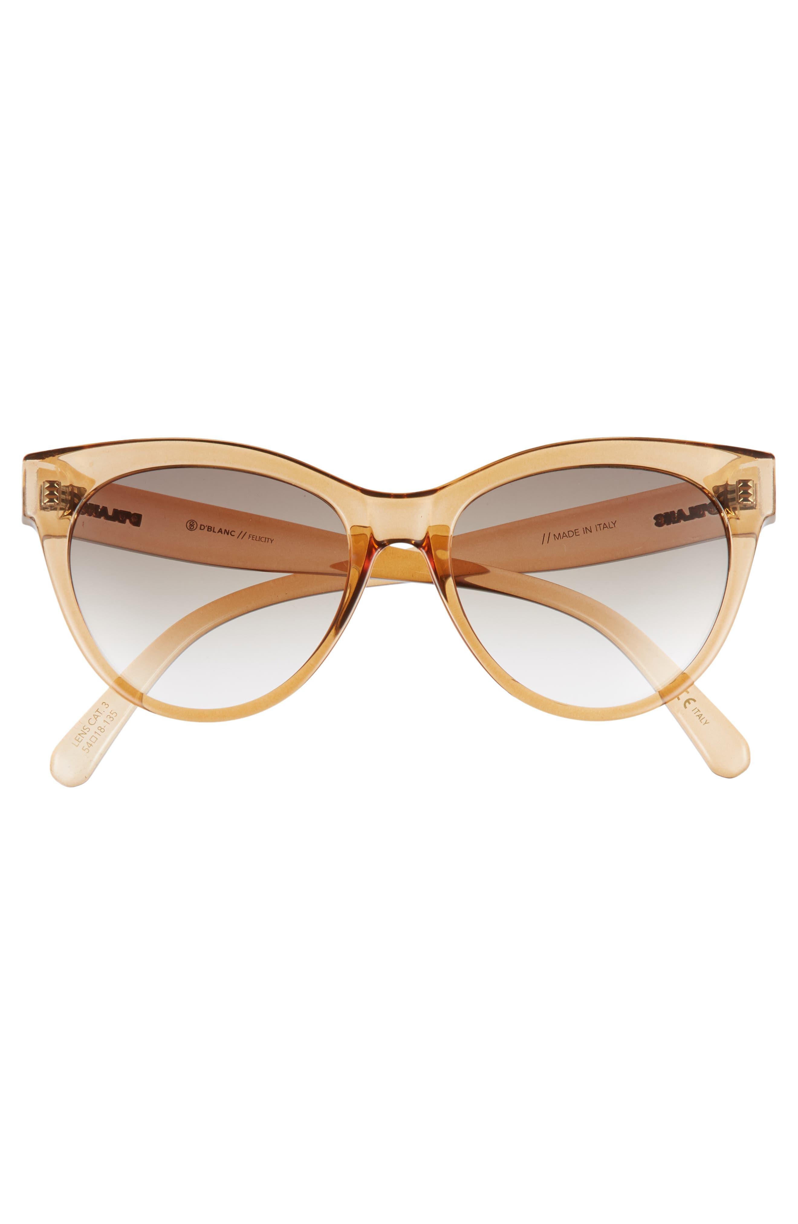 D'BLANC Felicity 54mm Cat Eye Sunglasses,                             Alternate thumbnail 3, color,                             Chai Gloss