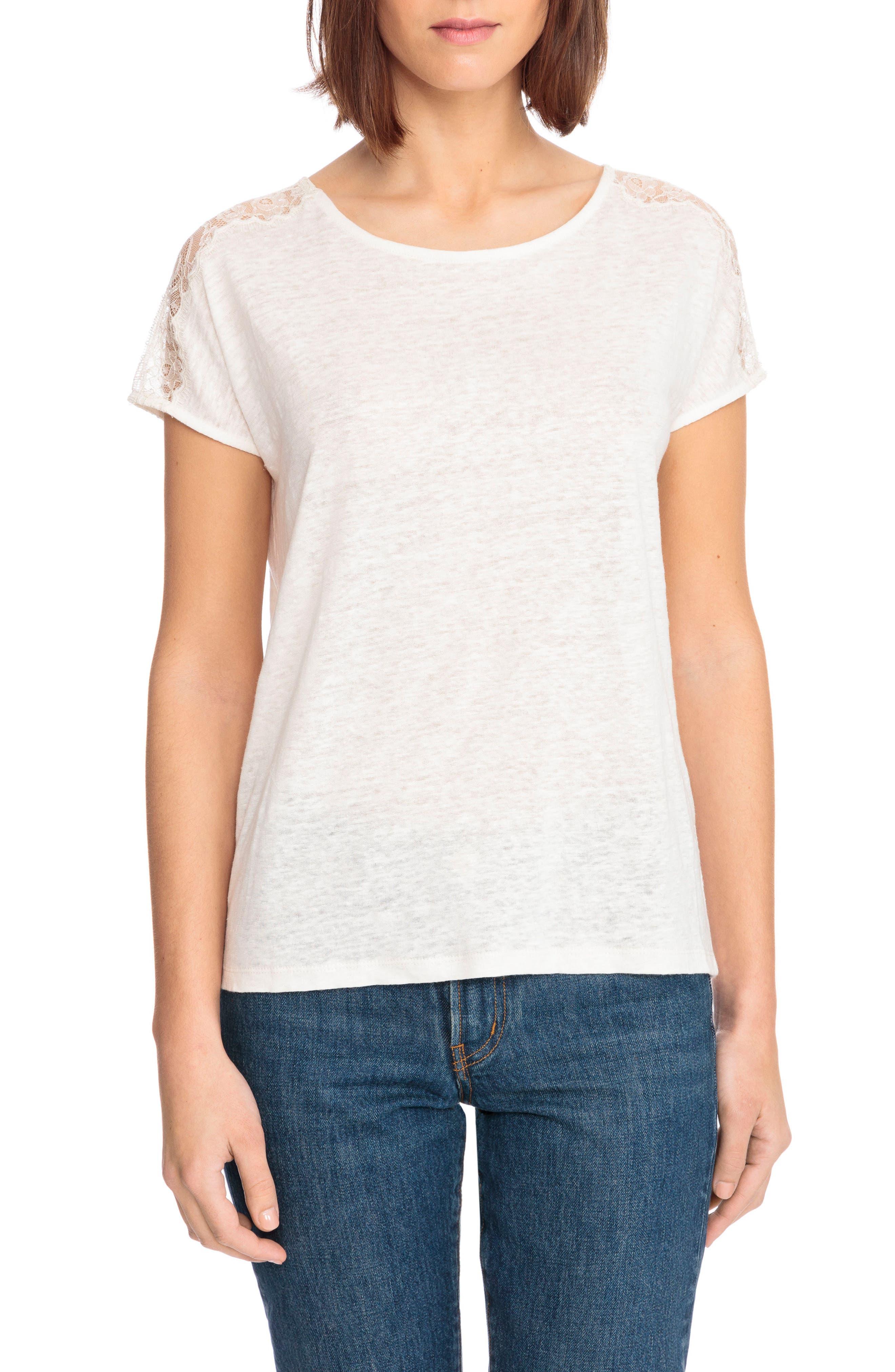 Livia Lace Shoulder Back Tie Linen Tee,                         Main,                         color, Off White