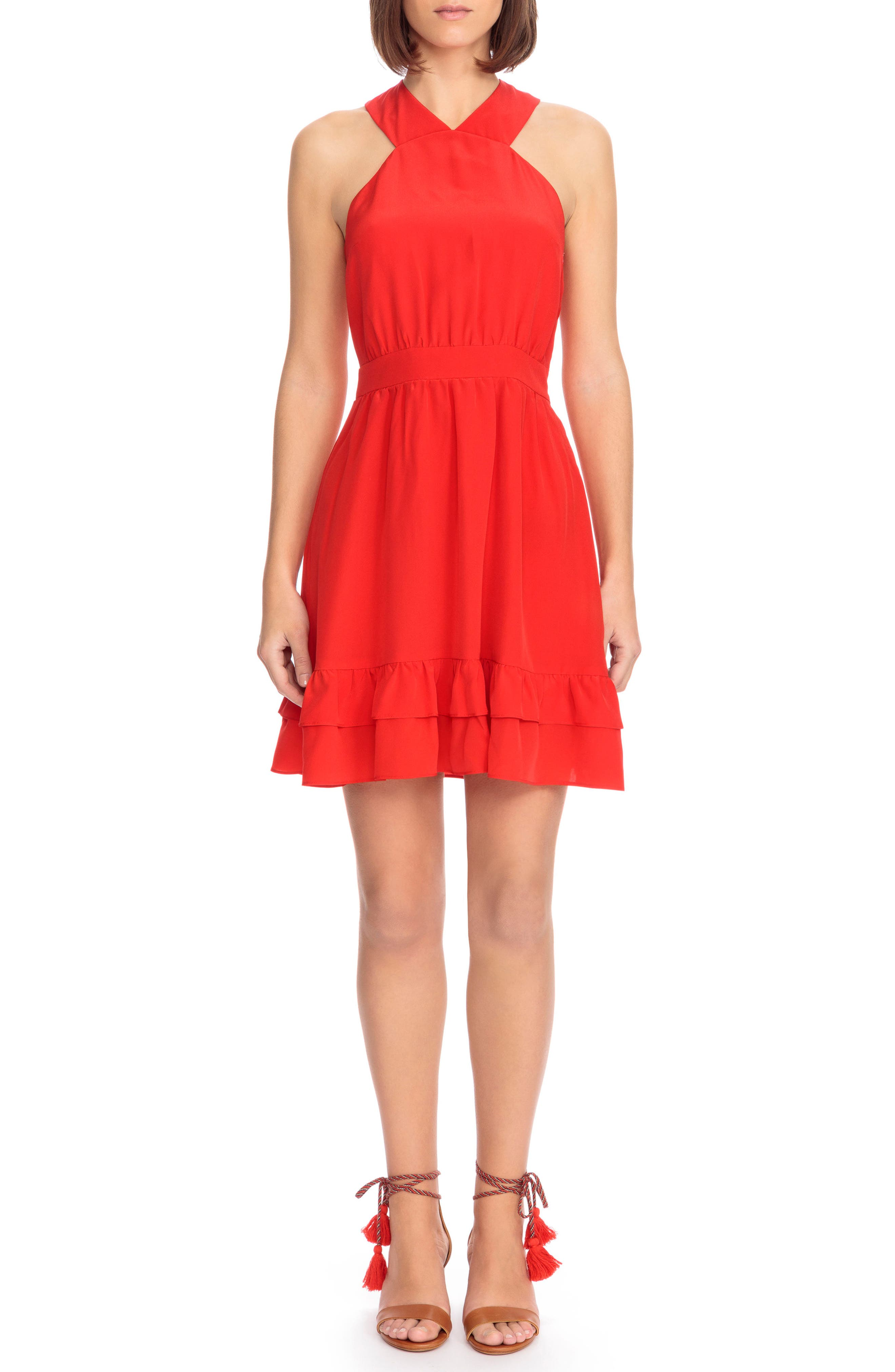 Alma Silk Fit & Flare Dress,                             Main thumbnail 1, color,                             Coral Red