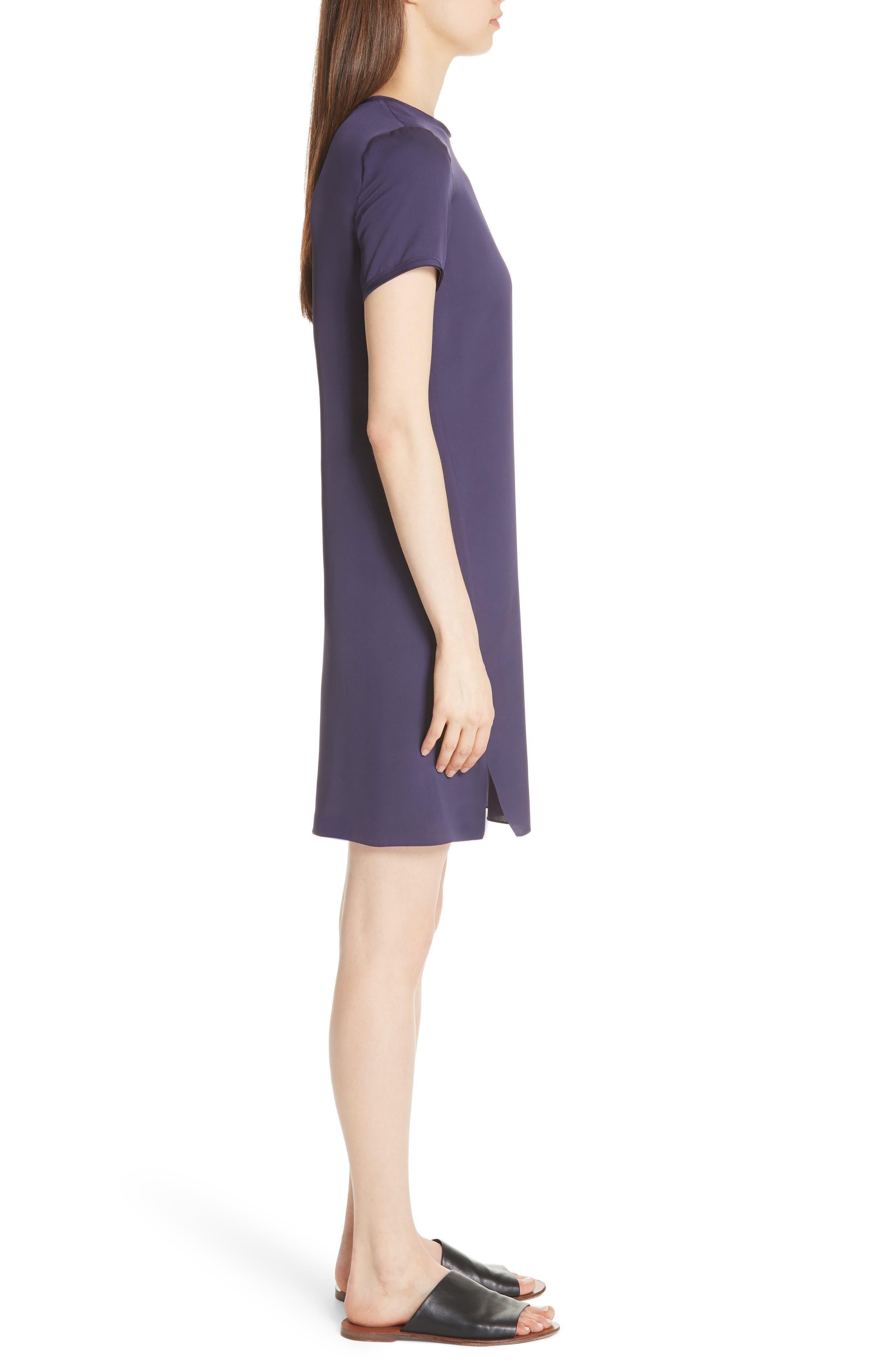 Modern Silk T-Shirt Dress,                             Alternate thumbnail 5, color,                             Plum Purple