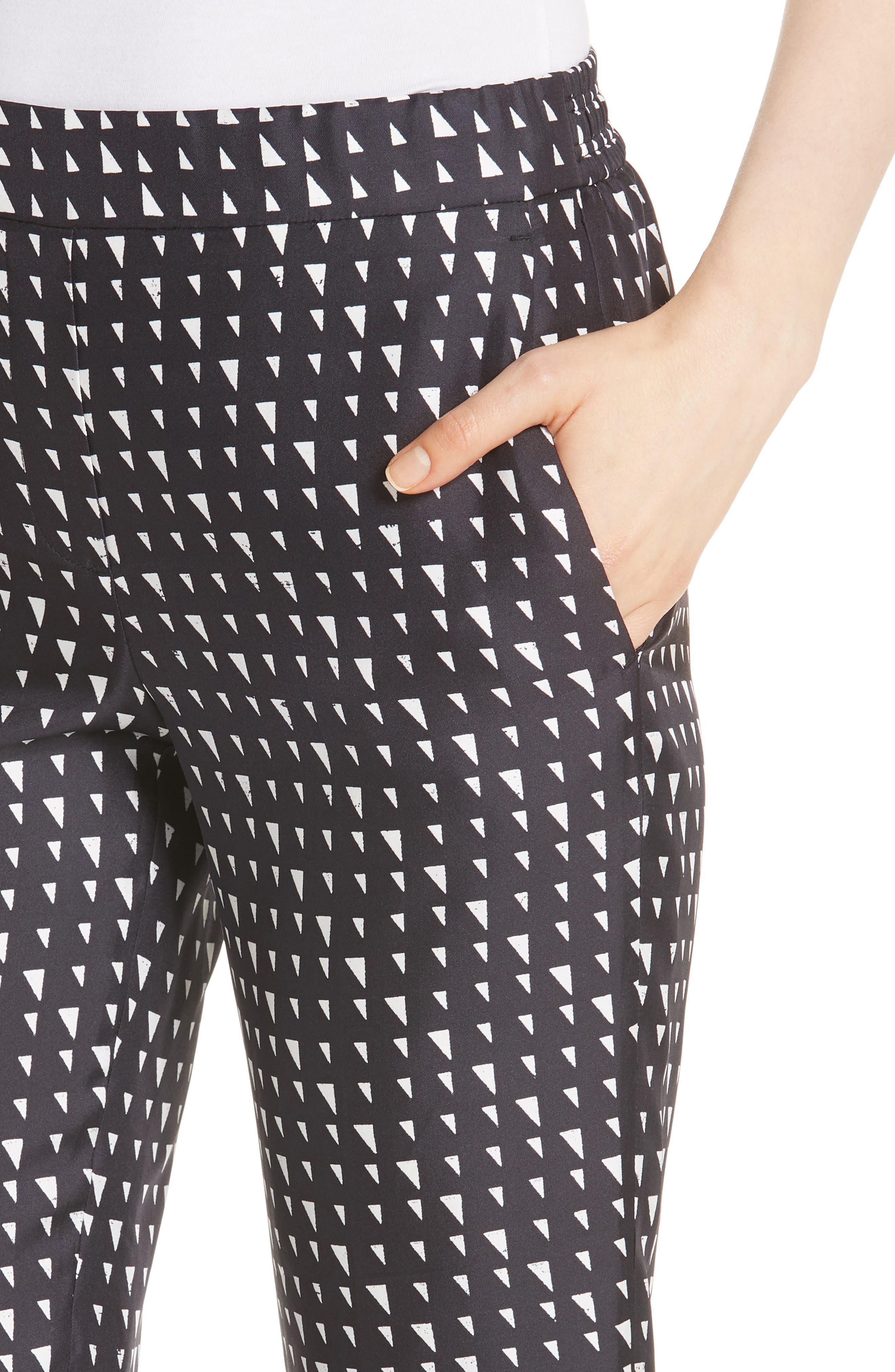 Pull On Silk Trousers,                             Alternate thumbnail 4, color,                             Black/ Ivory