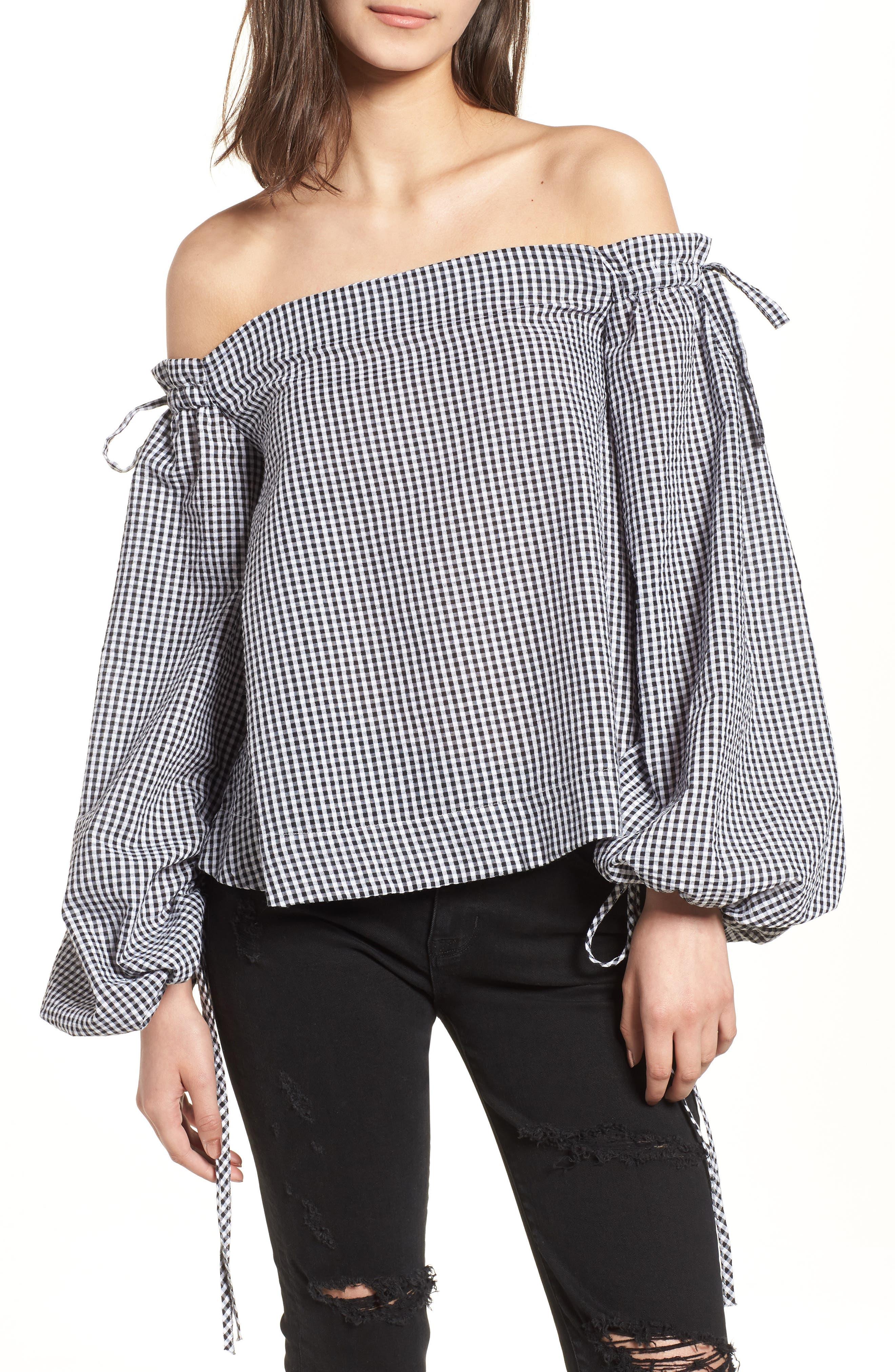 Gingham Off the Shoulder Top,                         Main,                         color, Black/ White Multi