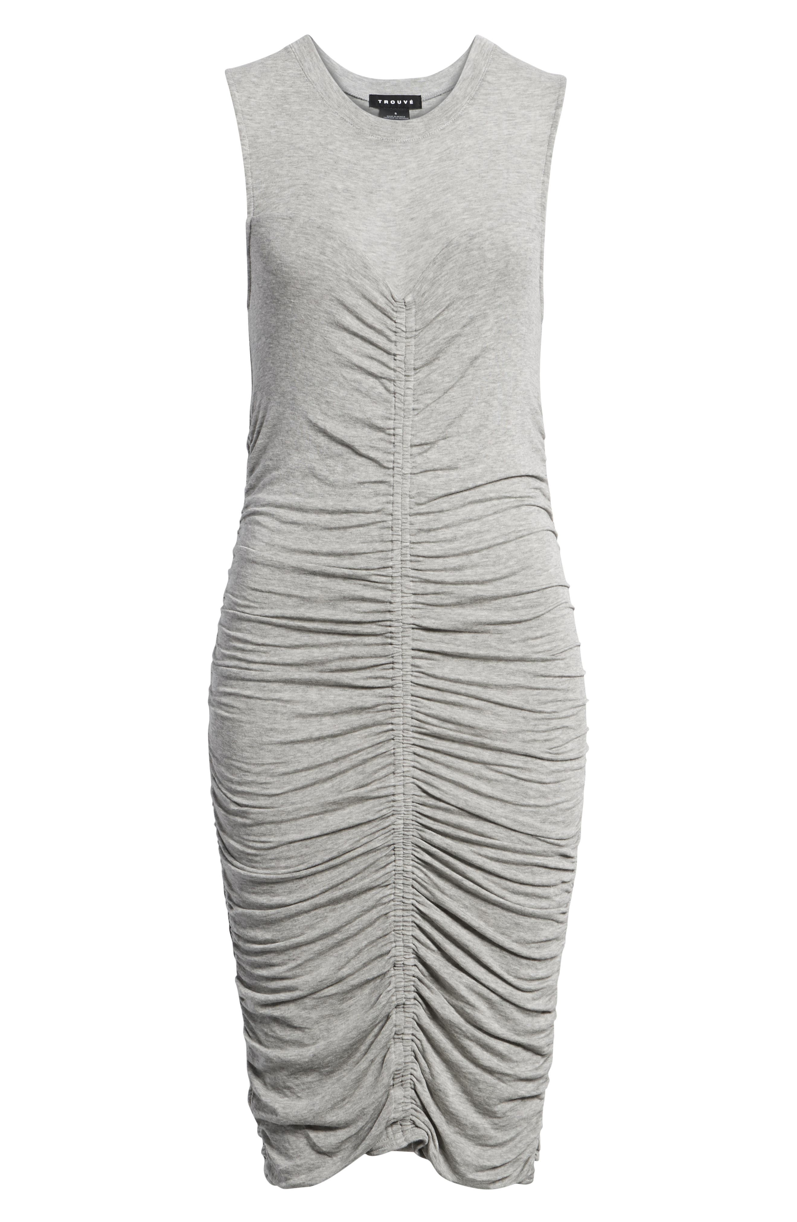 Shirred Dress,                             Alternate thumbnail 7, color,                             Grey Heather