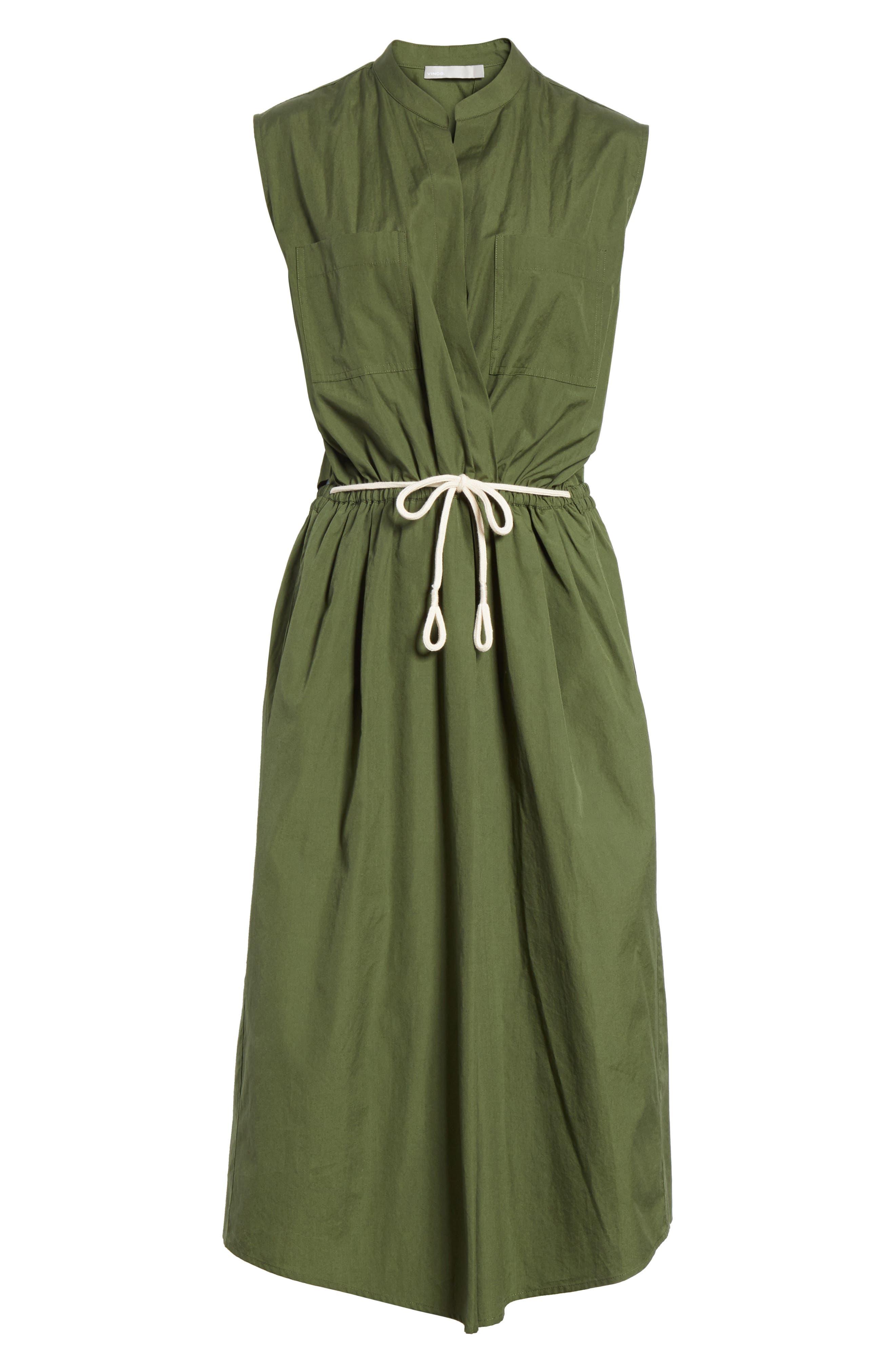 Back Cutout Cotton Utility Dress,                             Alternate thumbnail 6, color,                             Cedar