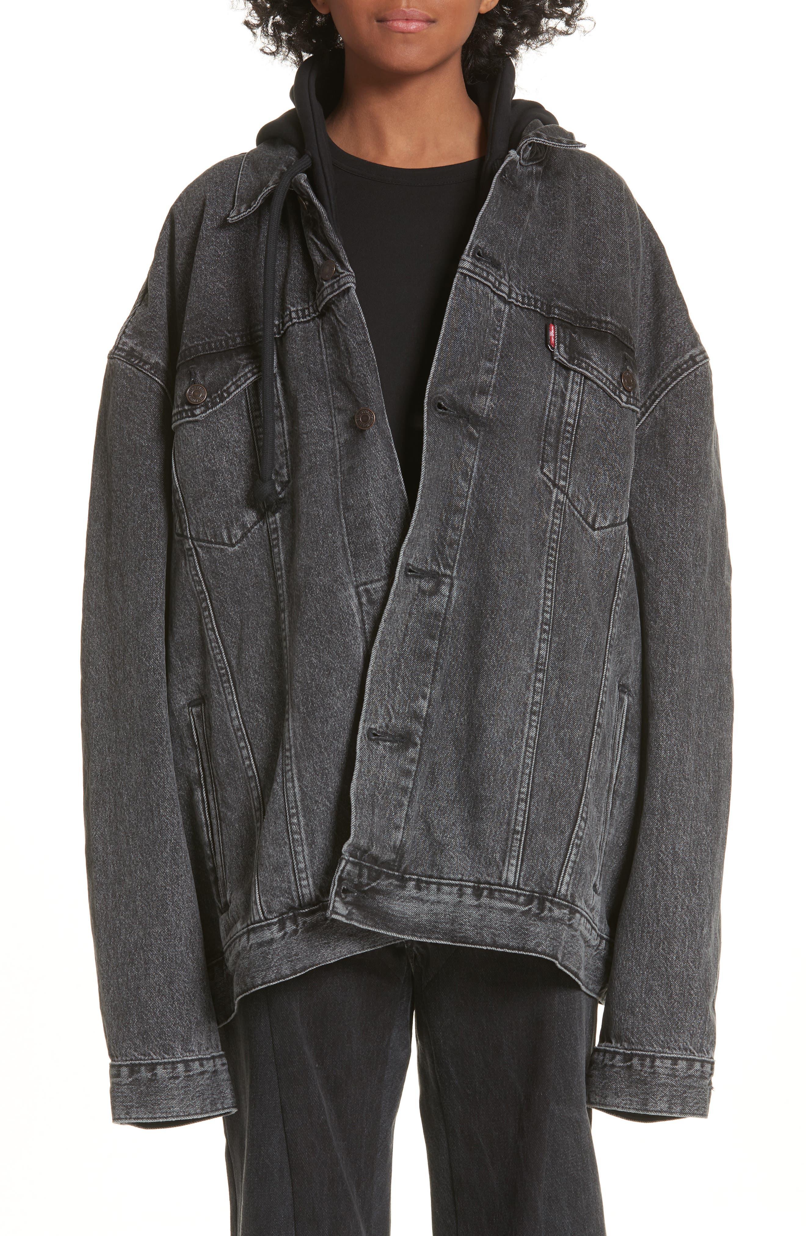 Oversized Removable Hood Denim Jacket,                         Main,                         color, Black