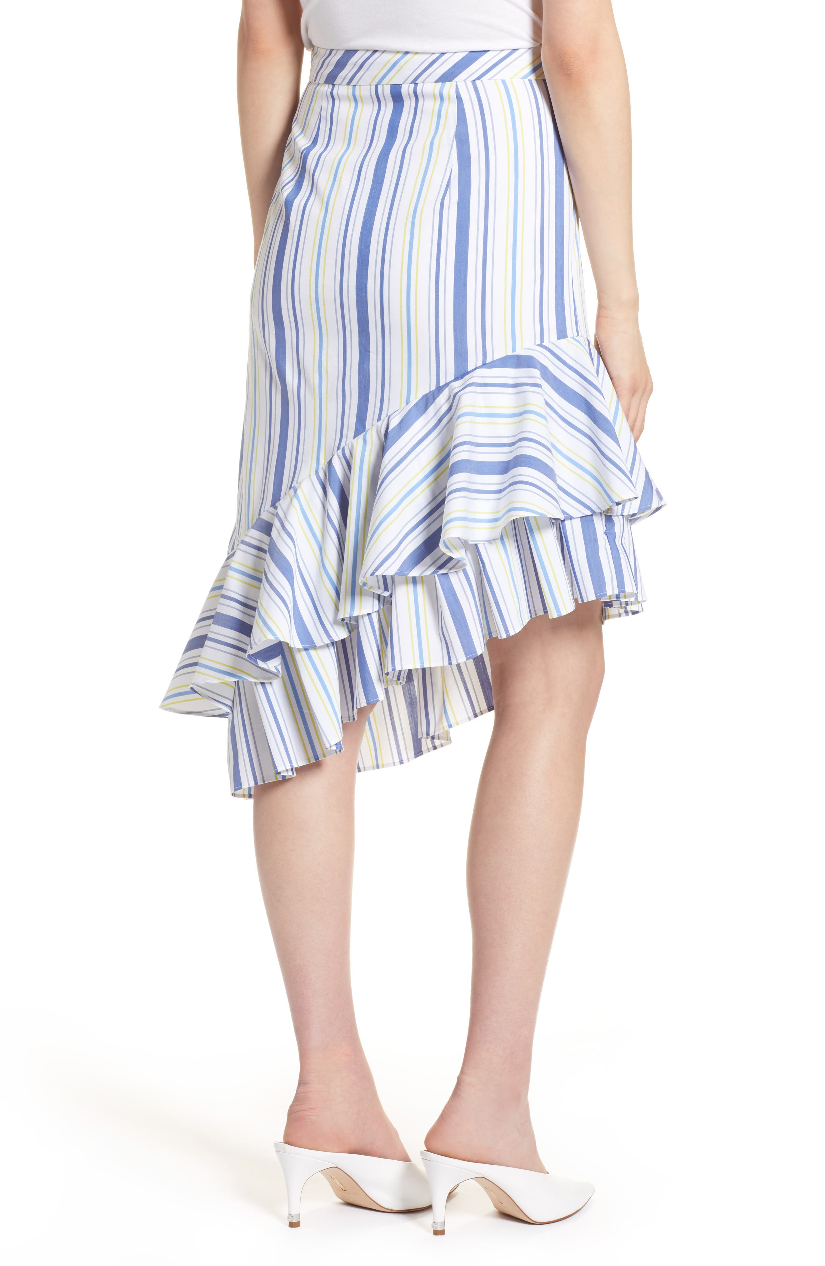 Alternate Image 2  - Halogen® Ruffle Hem Stripe Skirt (Regular & Petite)