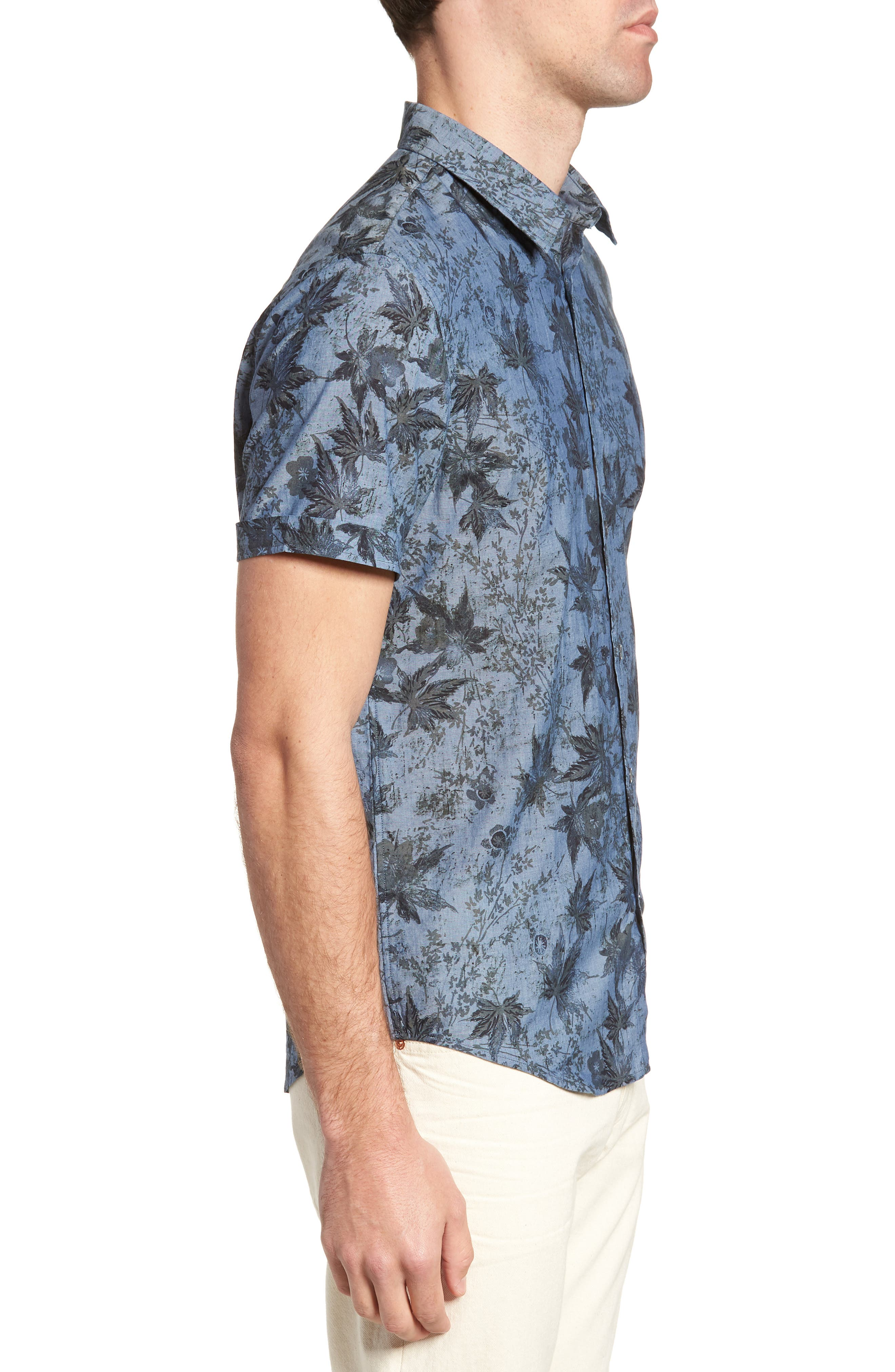 Regular Fit Print Short Sleeve Sport Shirt,                             Alternate thumbnail 3, color,                             Indigo