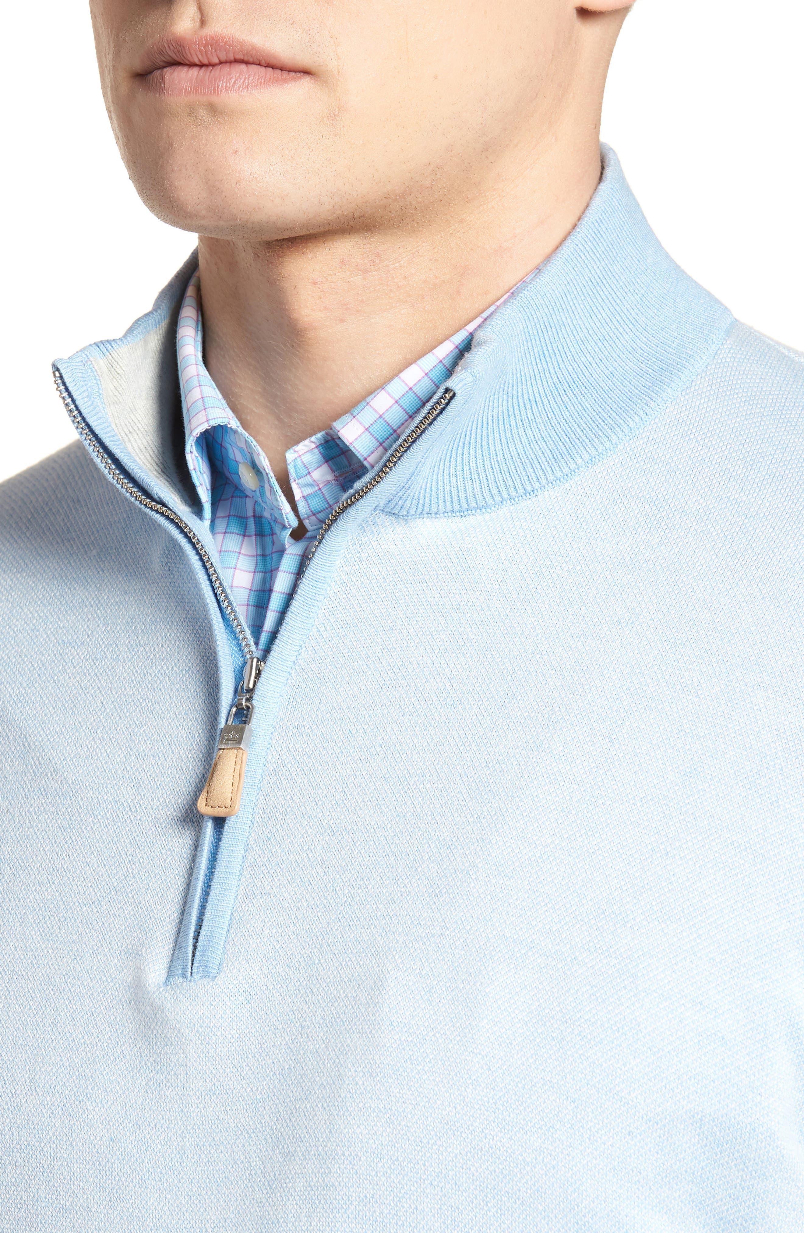 Crown Bird's Eye Cotton & Silk Quarter Zip Sweater,                             Alternate thumbnail 4, color,                             Tarheel Blue