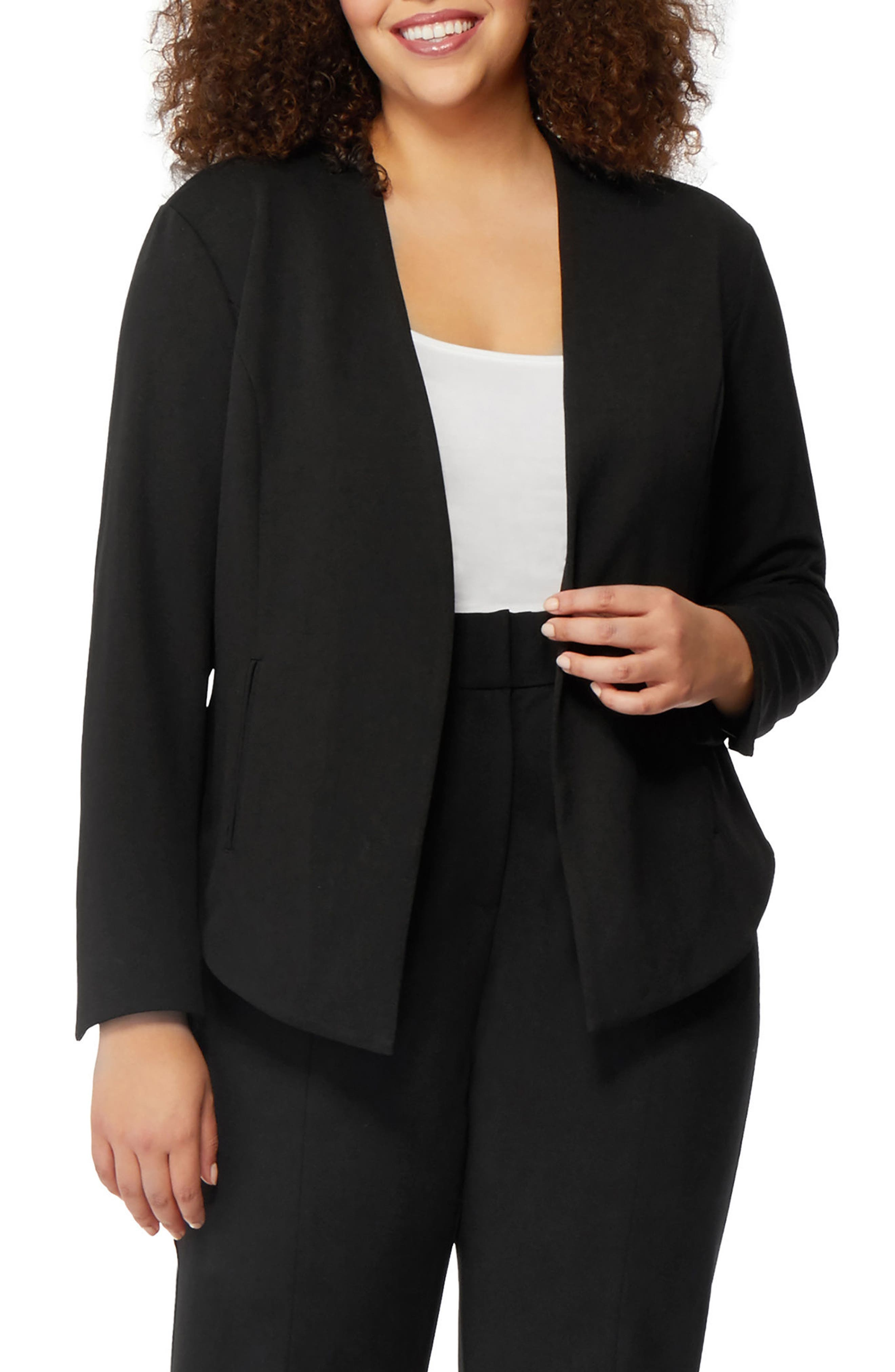 Open Front Blazer,                             Main thumbnail 1, color,                             Black