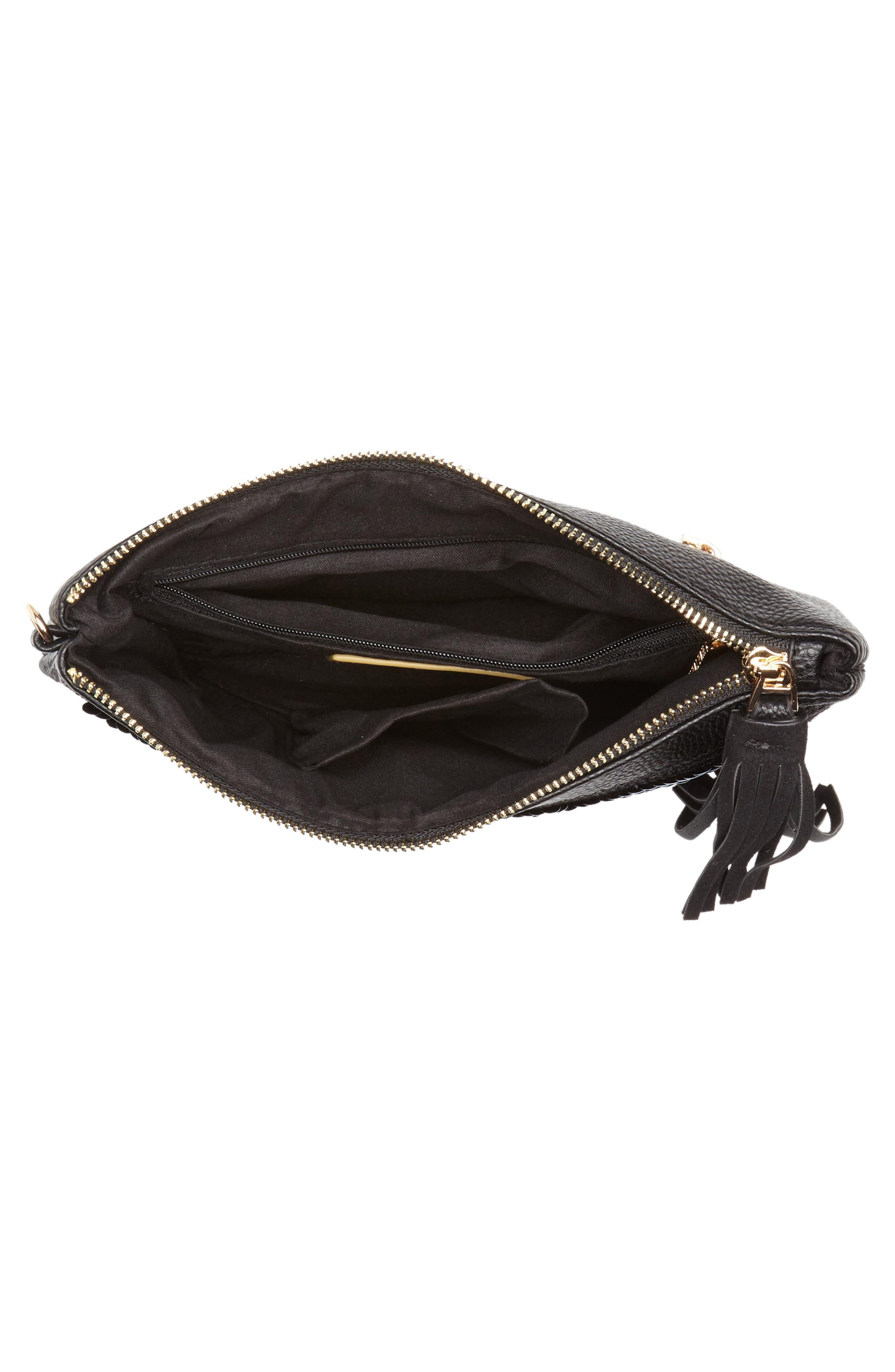 Indecisive Reversible Sequin Faux Leather Clutch,                             Alternate thumbnail 5, color,                             Black