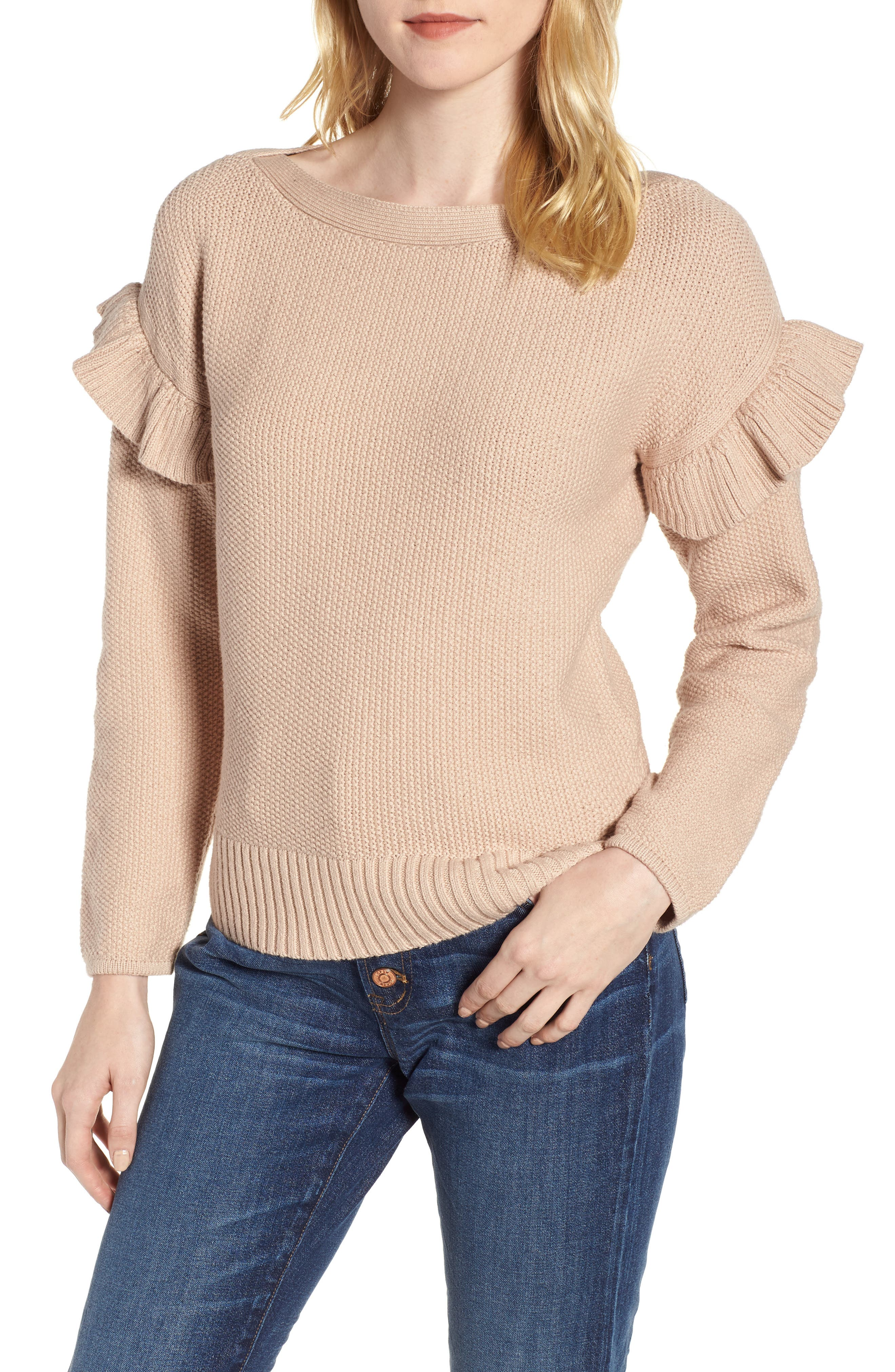 J.Crew Ava Ruffle Sleeve Stretch Cotton Sweater