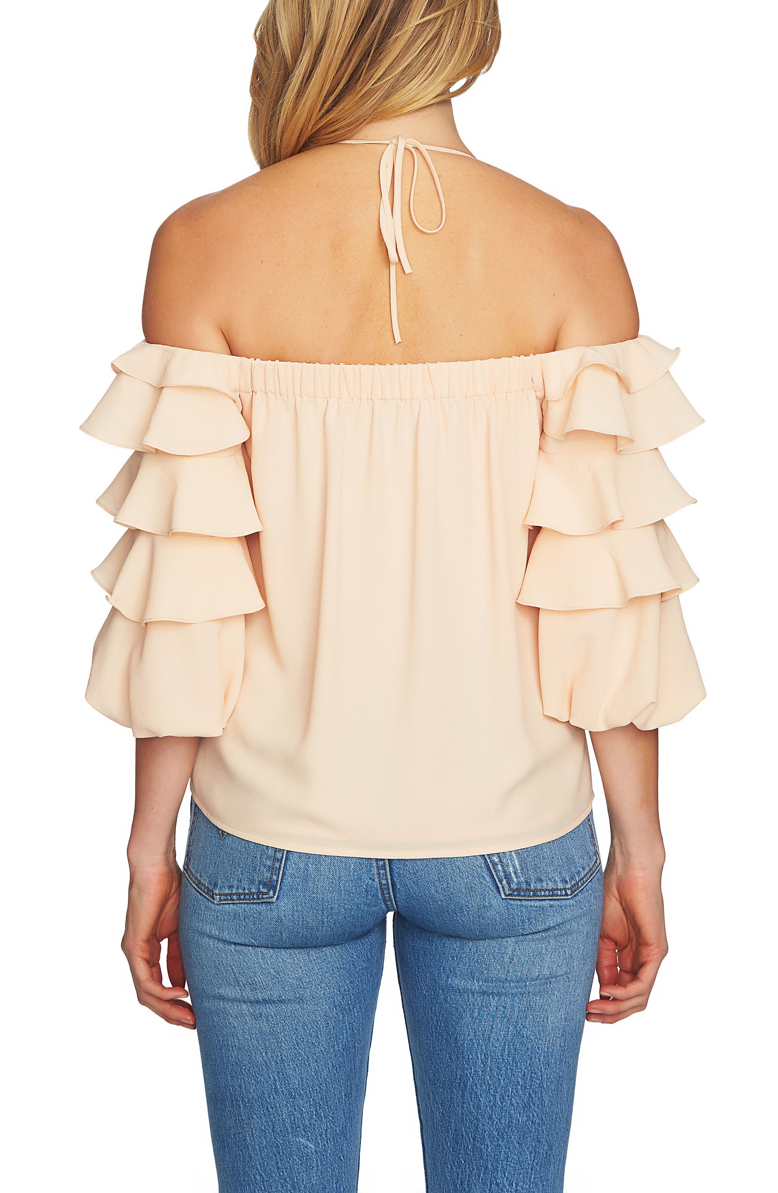 Tiered Ruffle Sleeve Off the Shoulder Top,                             Alternate thumbnail 2, color,                             Peach Cloud