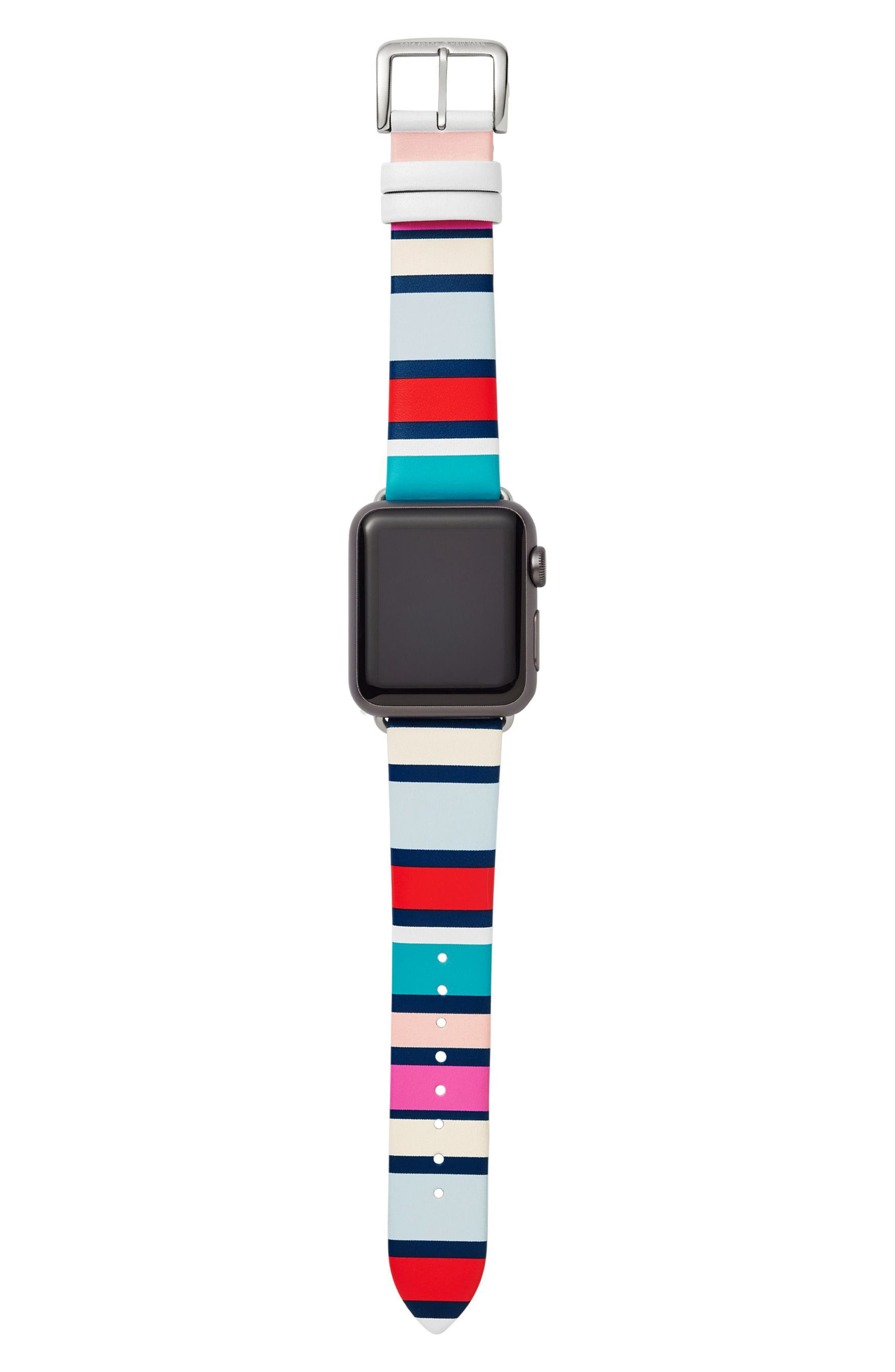 Apple<sup>®</sup> Watch strap, 38mm,                             Alternate thumbnail 2, color,                             Blue Multi/ Silver