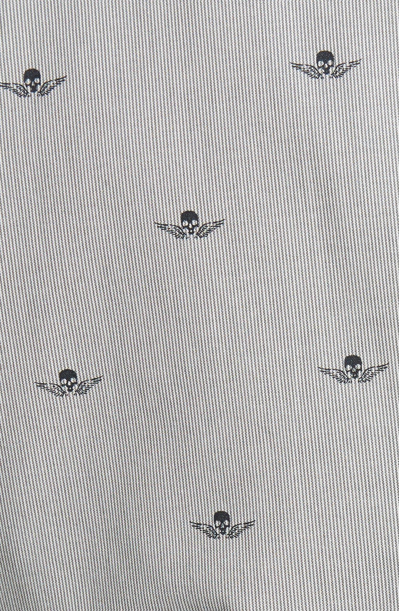 Slim Fit Print Cotton Blazer,                             Alternate thumbnail 5, color,                             Mercury Grey