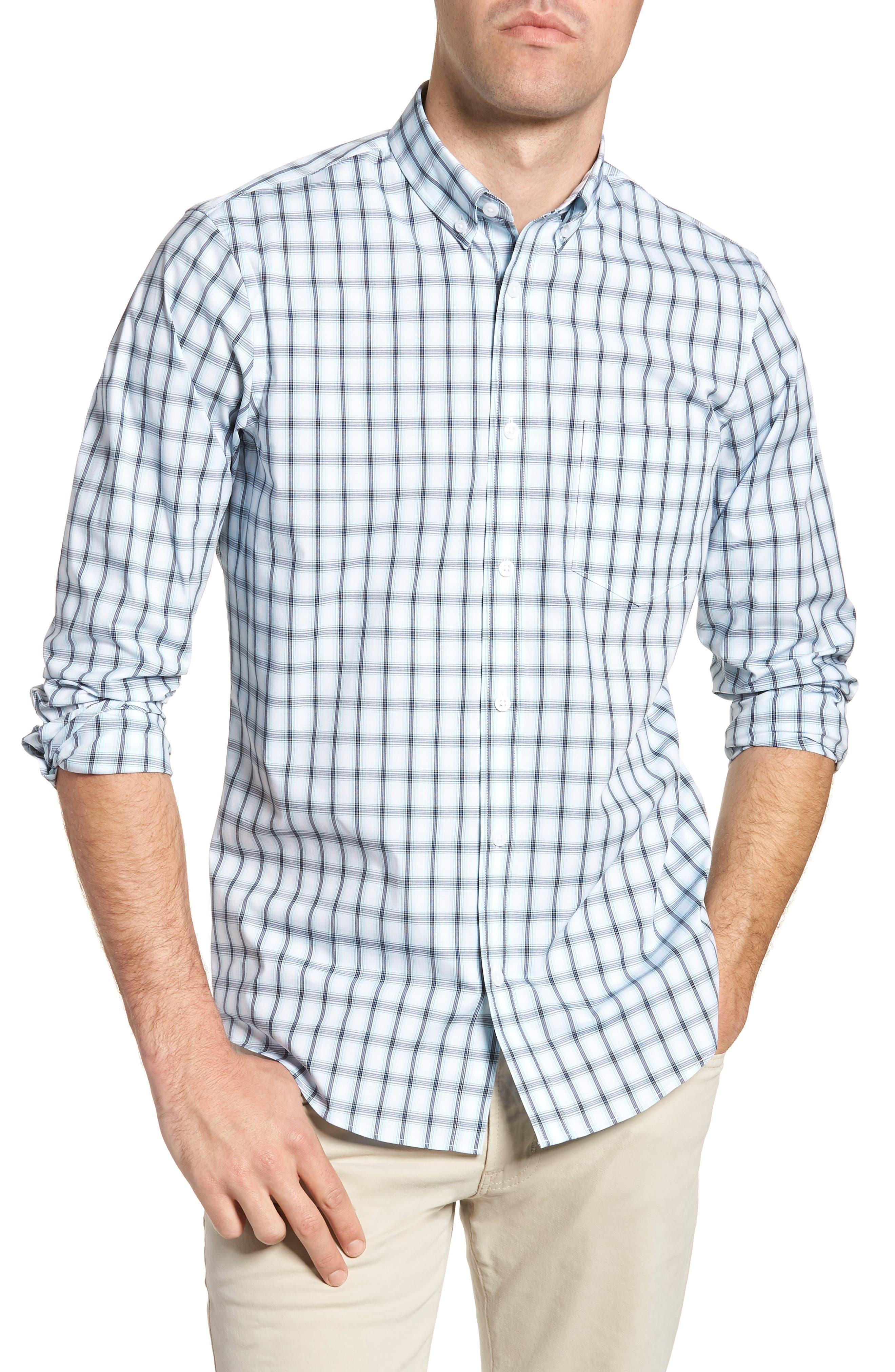 Tech-Smart Regular Fit Check Sport Shirt,                             Main thumbnail 1, color,                             Blue Orydalis Ombre Check