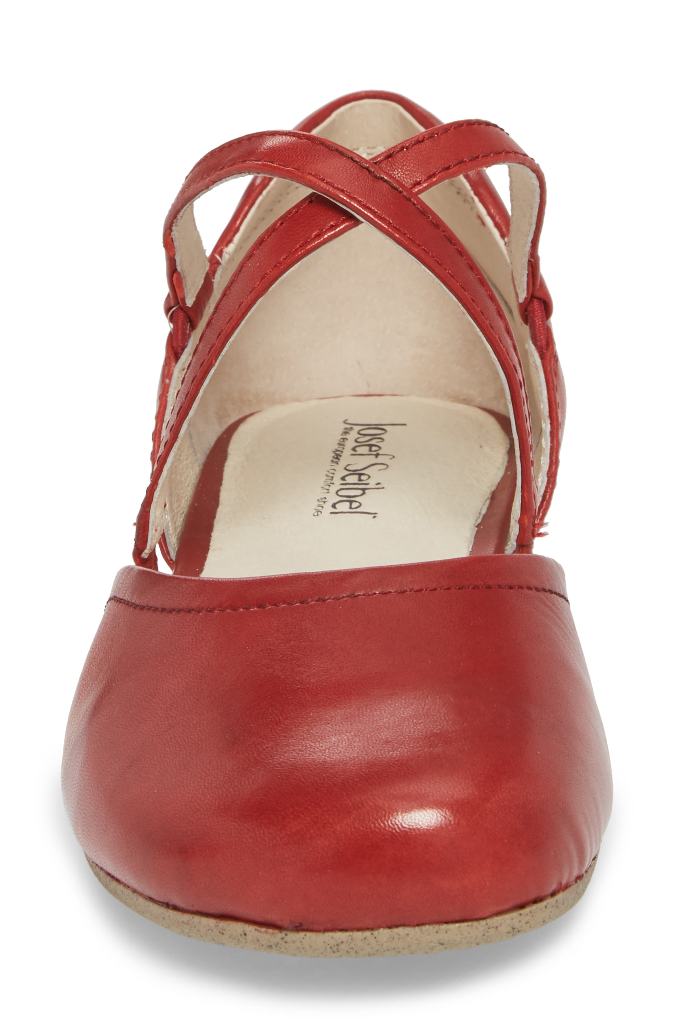 Fiona 41 Flat,                             Alternate thumbnail 4, color,                             Red Leather