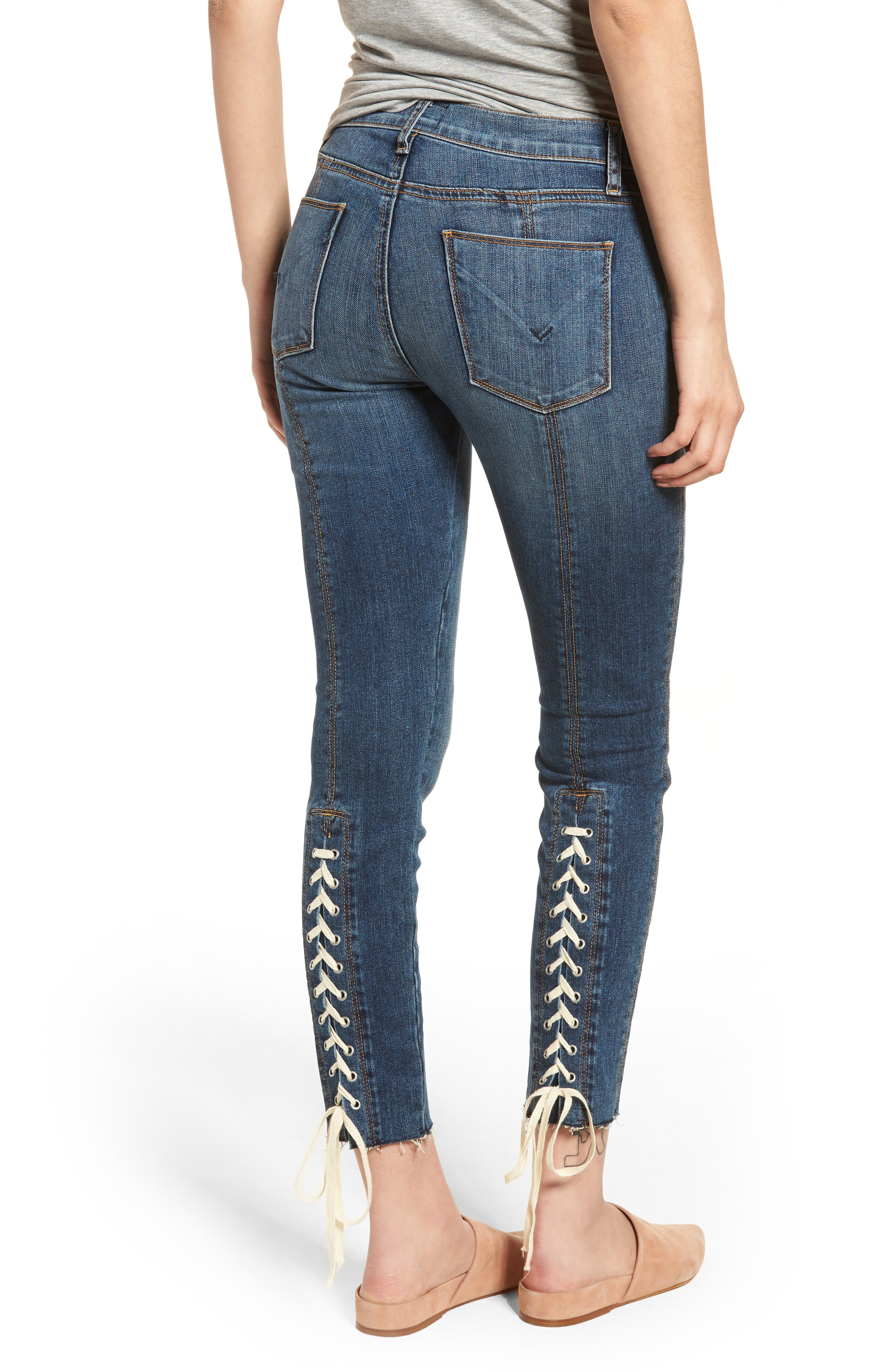 Nico Lace-Up Crop Skinny Jeans,                             Alternate thumbnail 2, color,                             Unfamed