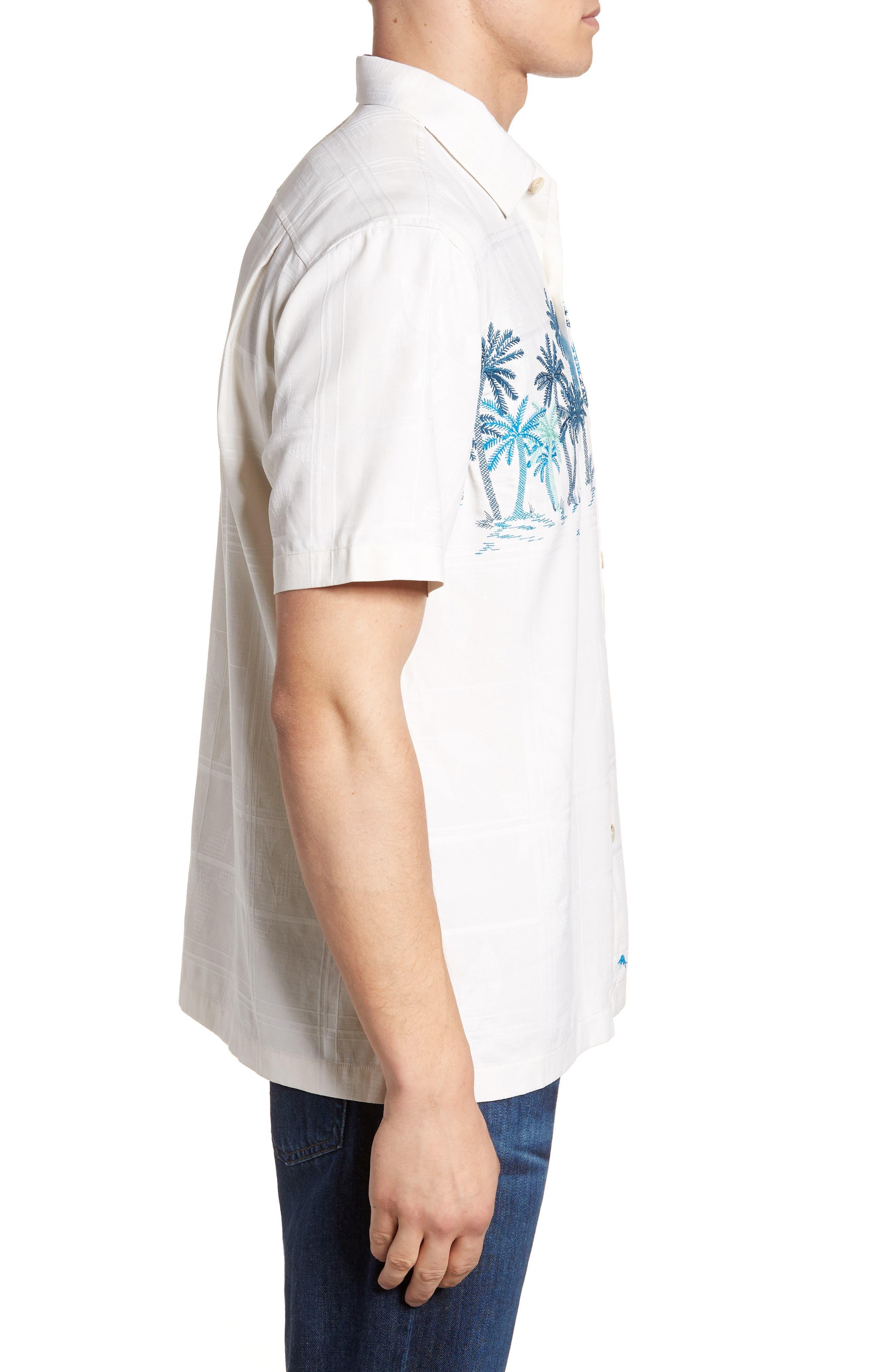 Puerto Vallarta Palms Silk Camp Shirt,                             Alternate thumbnail 4, color,                             Continental