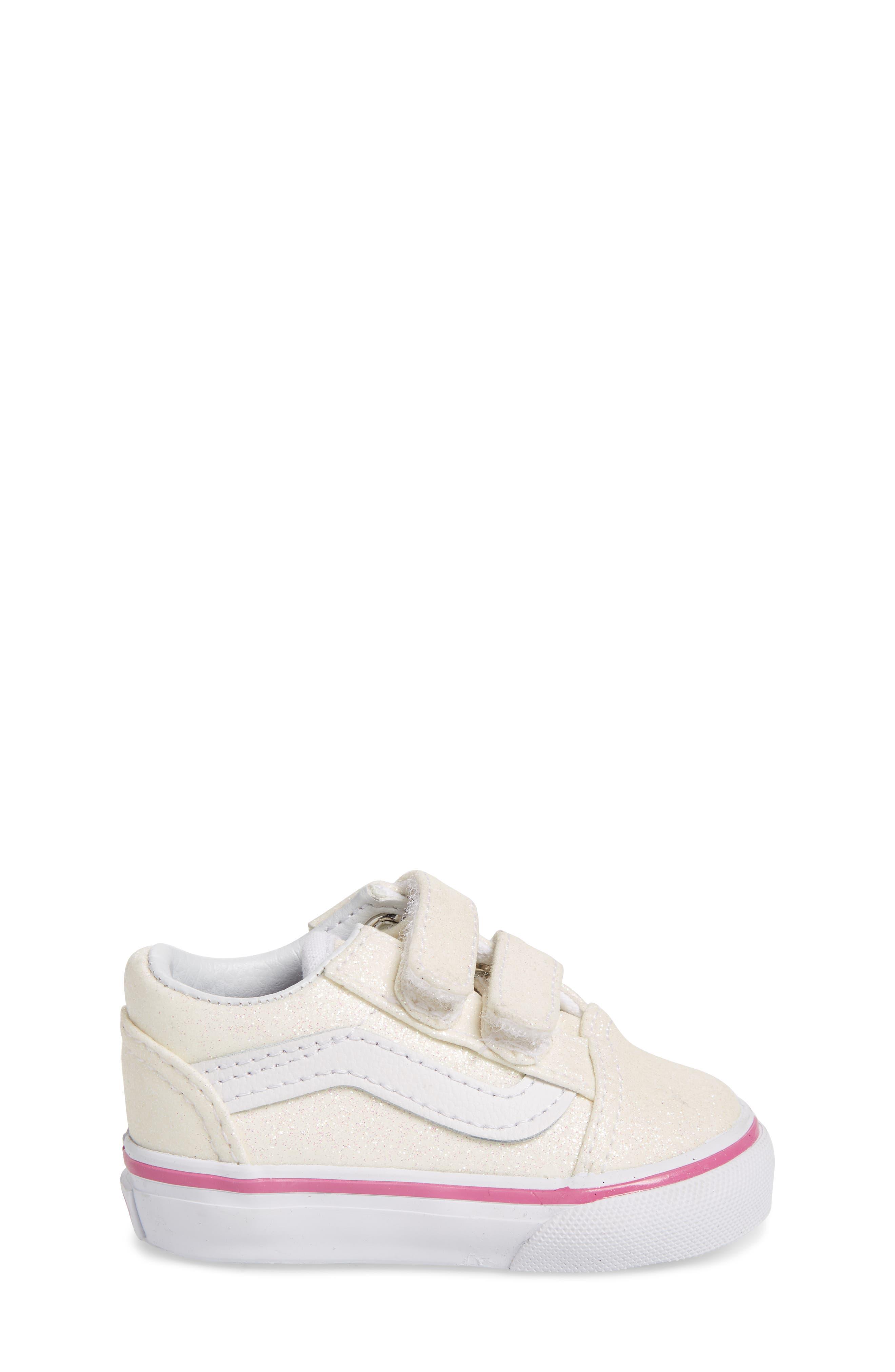 Old Skool V Glitter Sneaker,                             Alternate thumbnail 3, color,                             Rainbow White Glitter