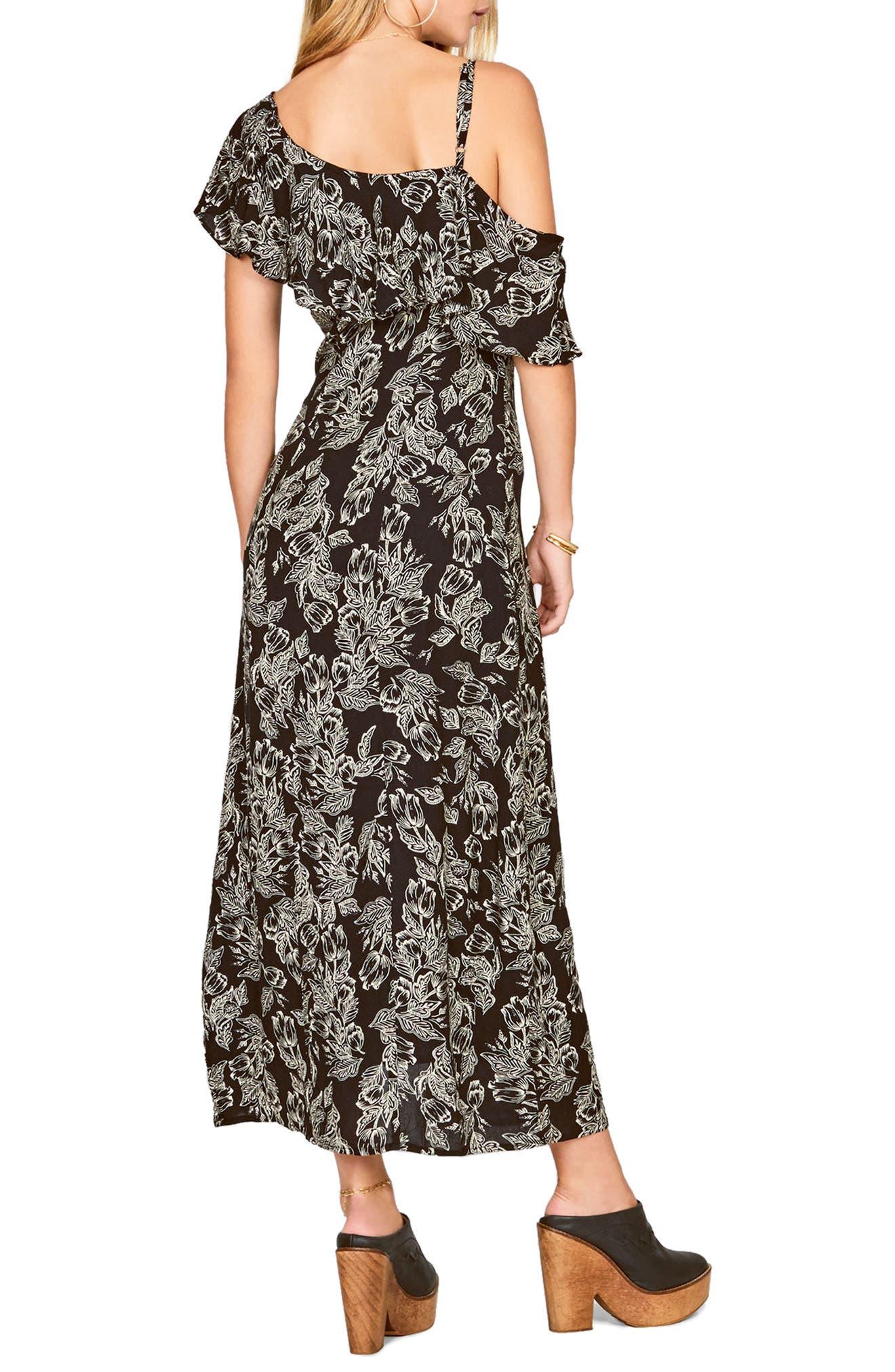 Midnight Flower Asymmetrical Maxi Dress,                             Alternate thumbnail 2, color,                             Black Sands