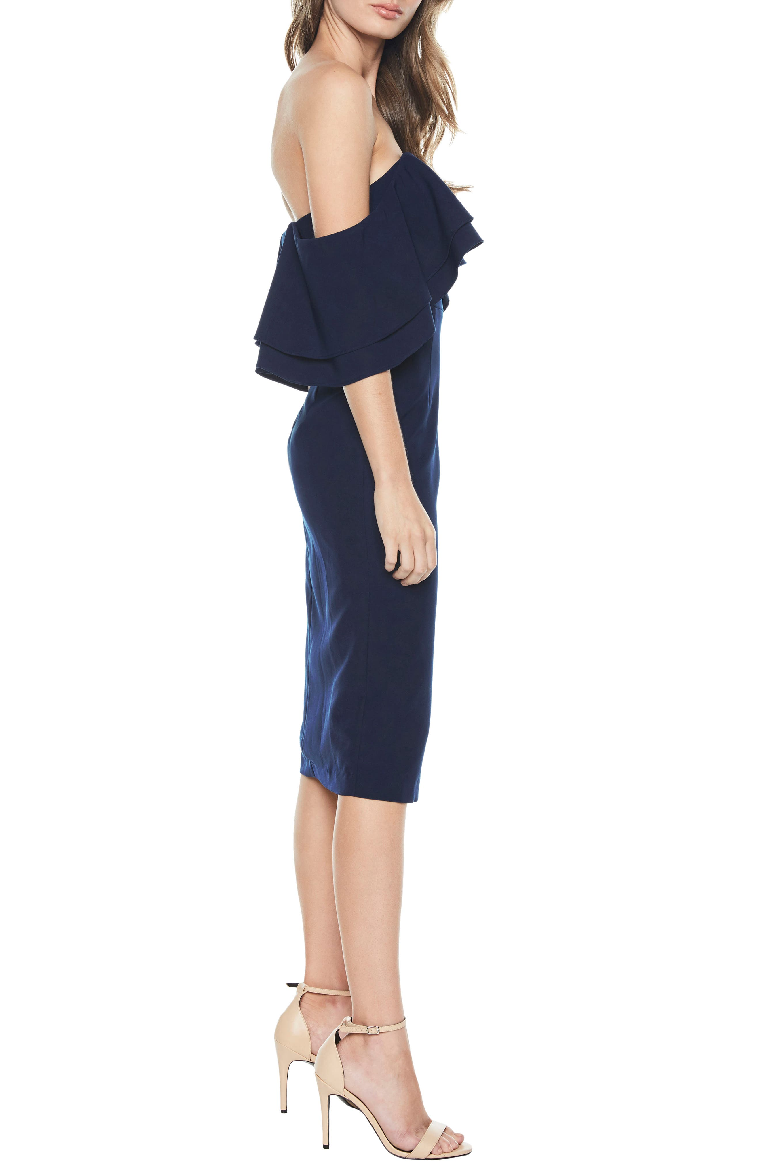 Band Ruffle Off the Shoulder Dress,                             Alternate thumbnail 4, color,                             Navy