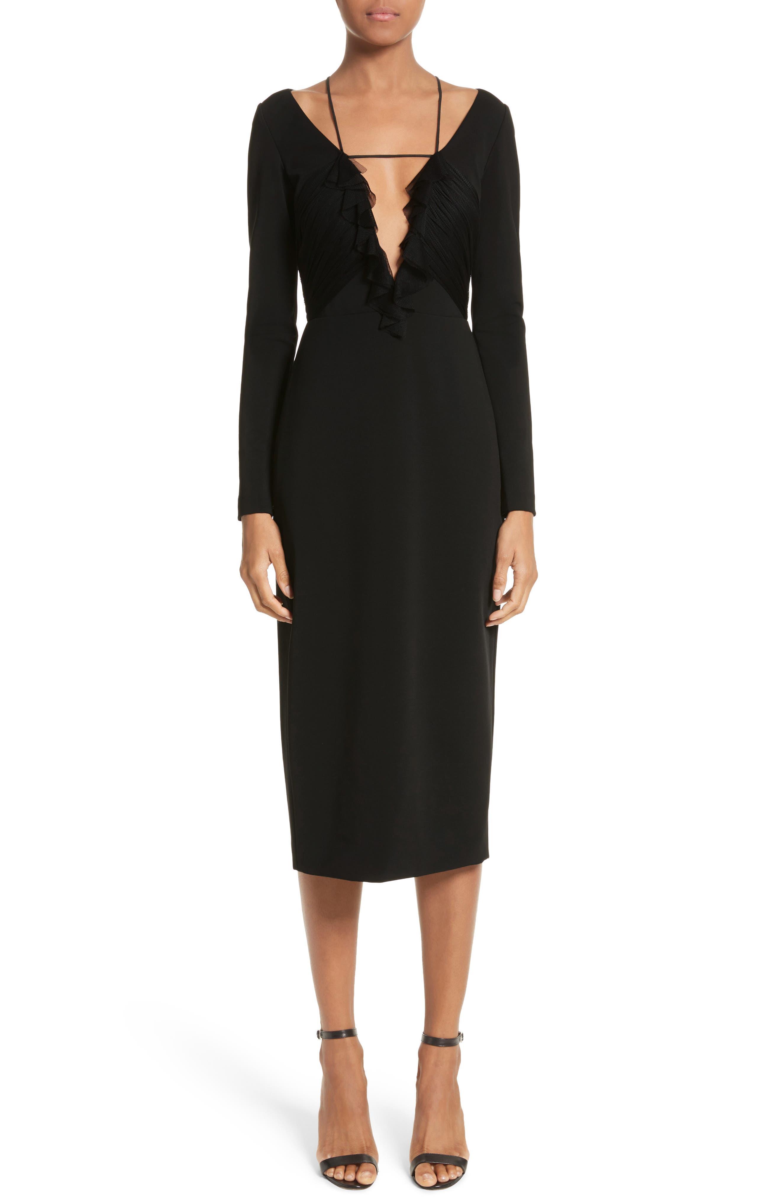 Ruffle Pencil Dress,                         Main,                         color, Black