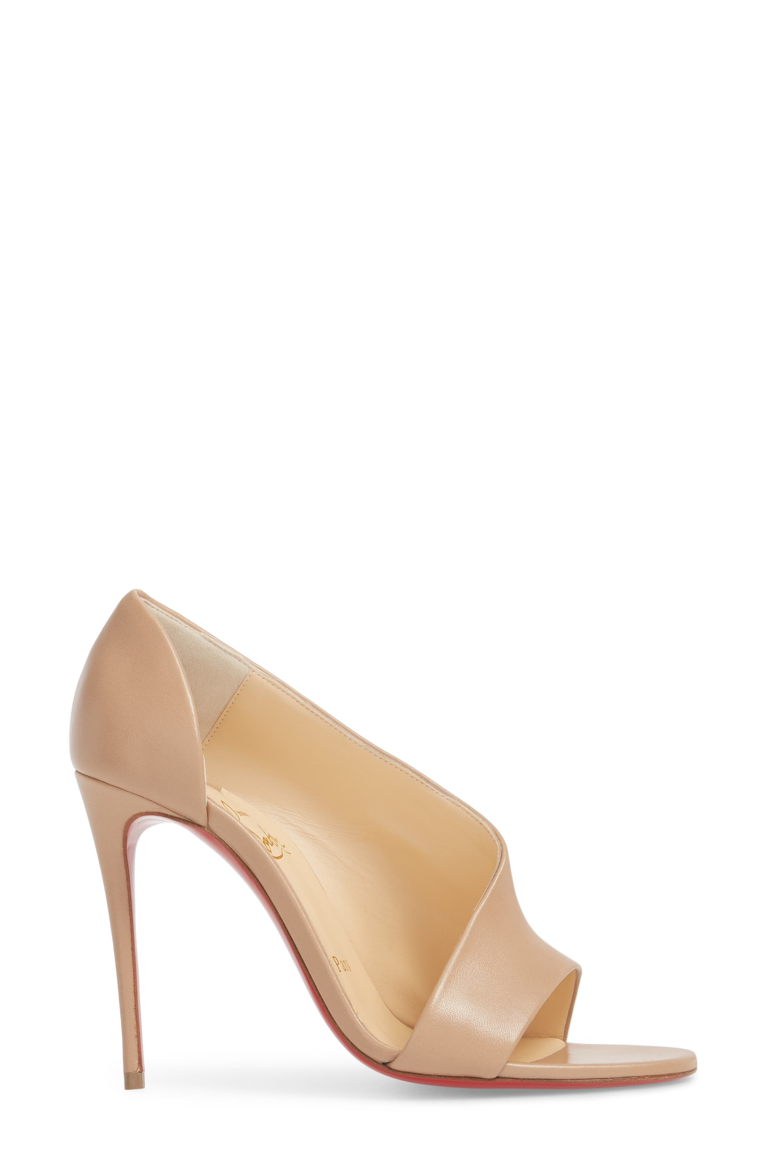 Phoebe Half d'Orsay Sandal,                             Alternate thumbnail 3, color,                             Nude Leather