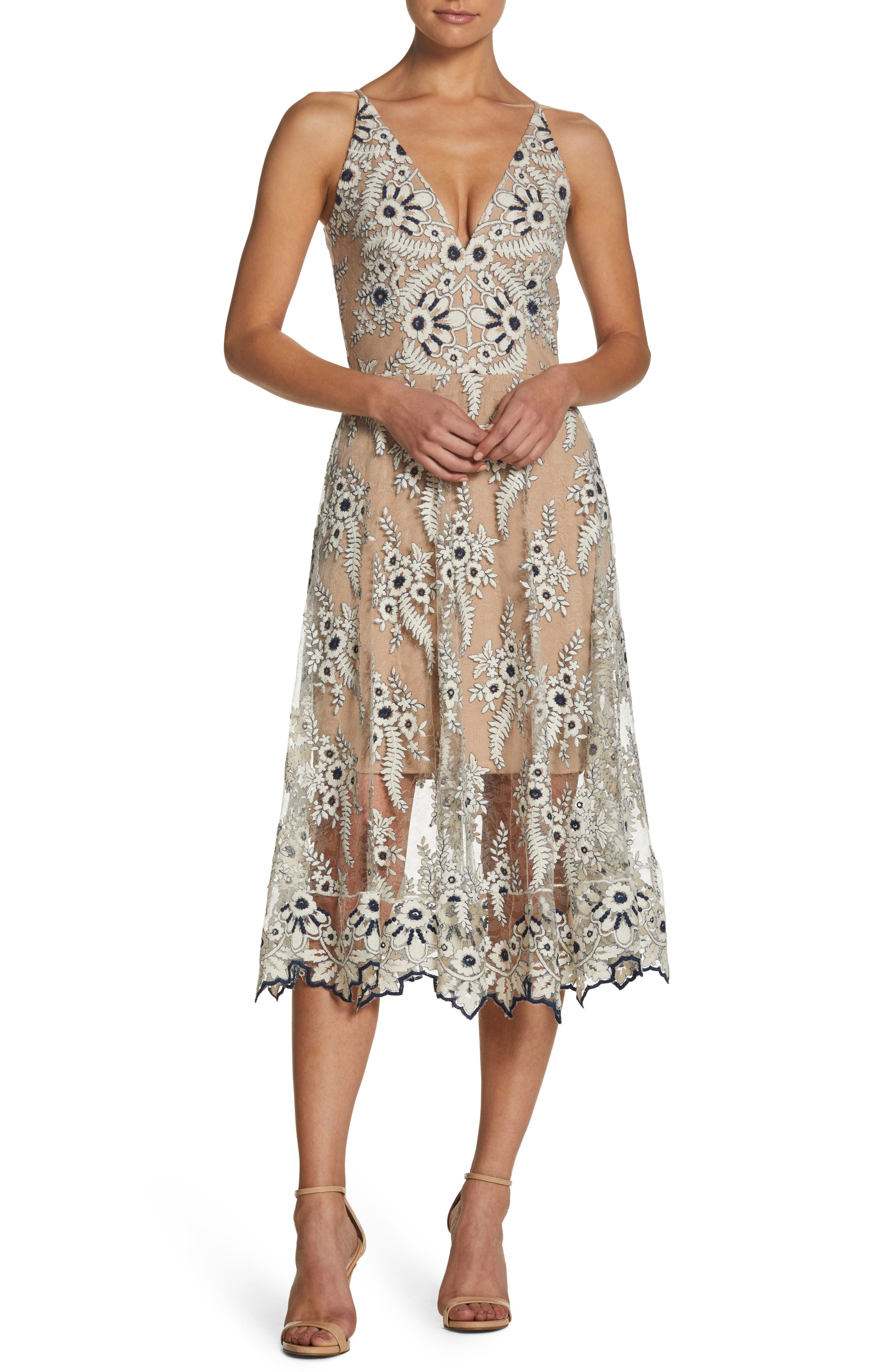 DRESS THE POPULATION AUDREY EMBROIDERED MIDI DRESS