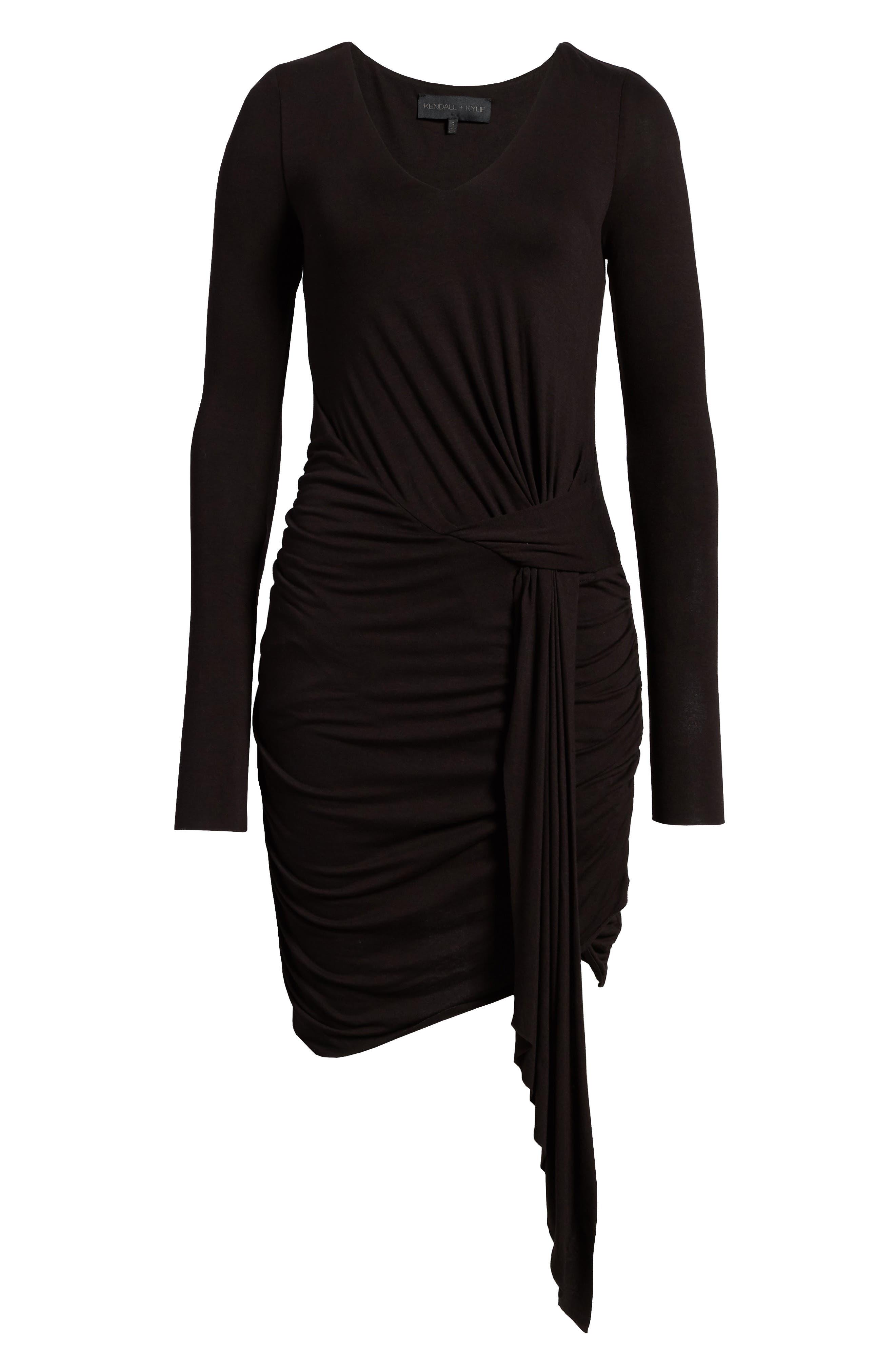 V-Neck Dress,                             Alternate thumbnail 7, color,                             Black Multi