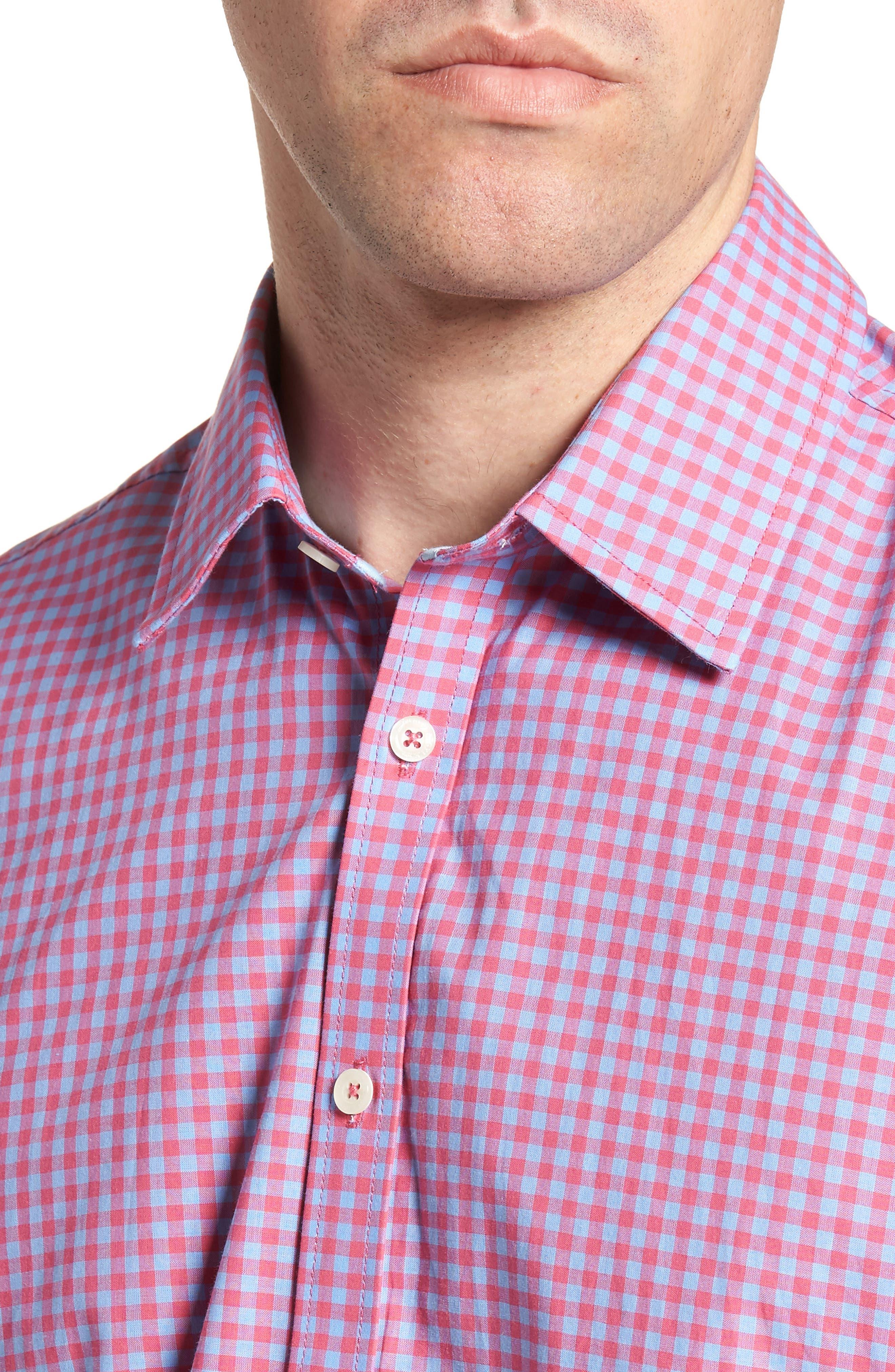 Slim Fit Gingham Sport Shirt,                             Alternate thumbnail 2, color,                             Light Red