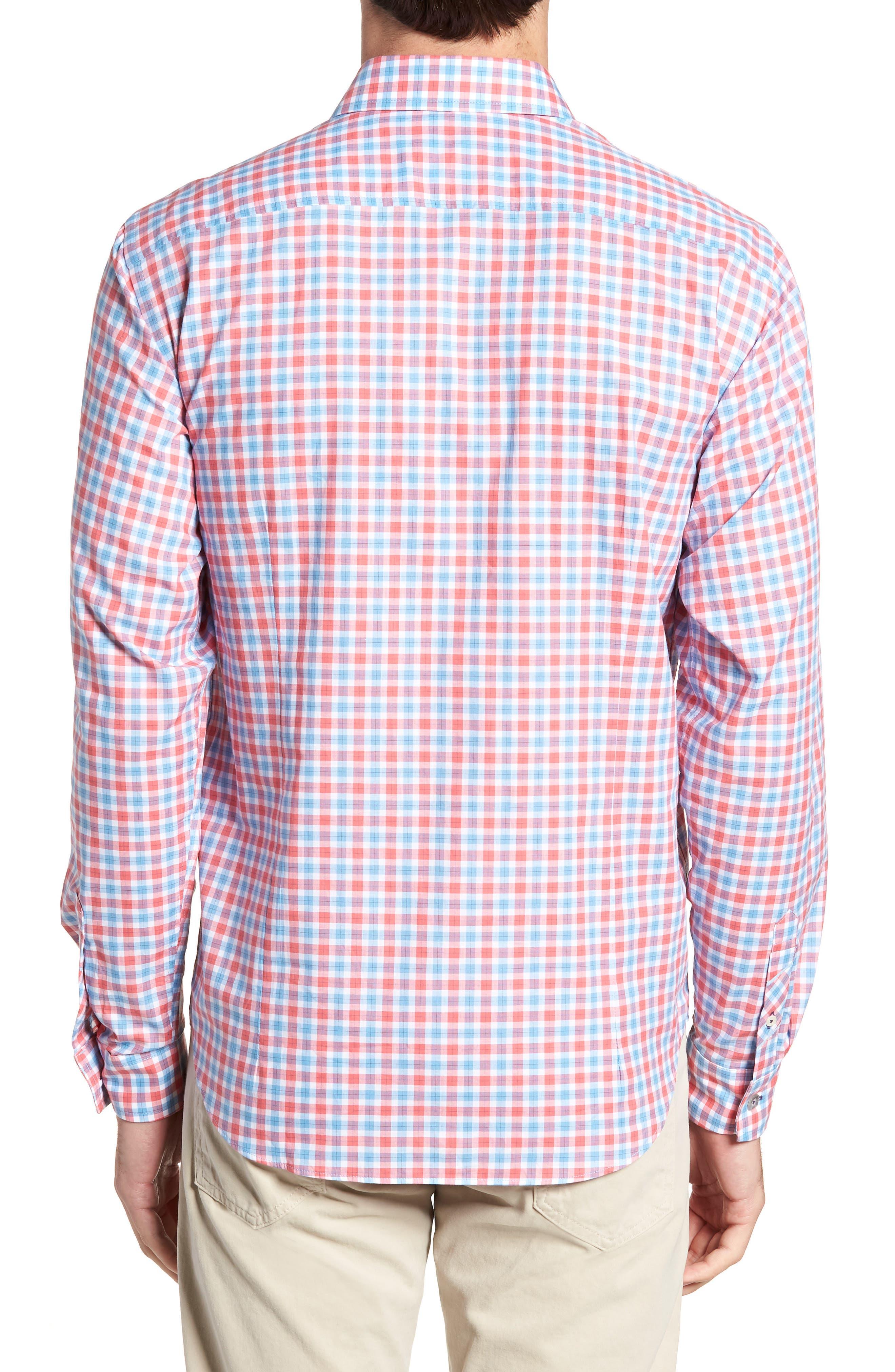 Slim Fit Check Sport Shirt,                             Alternate thumbnail 3, color,                             Medium Orange