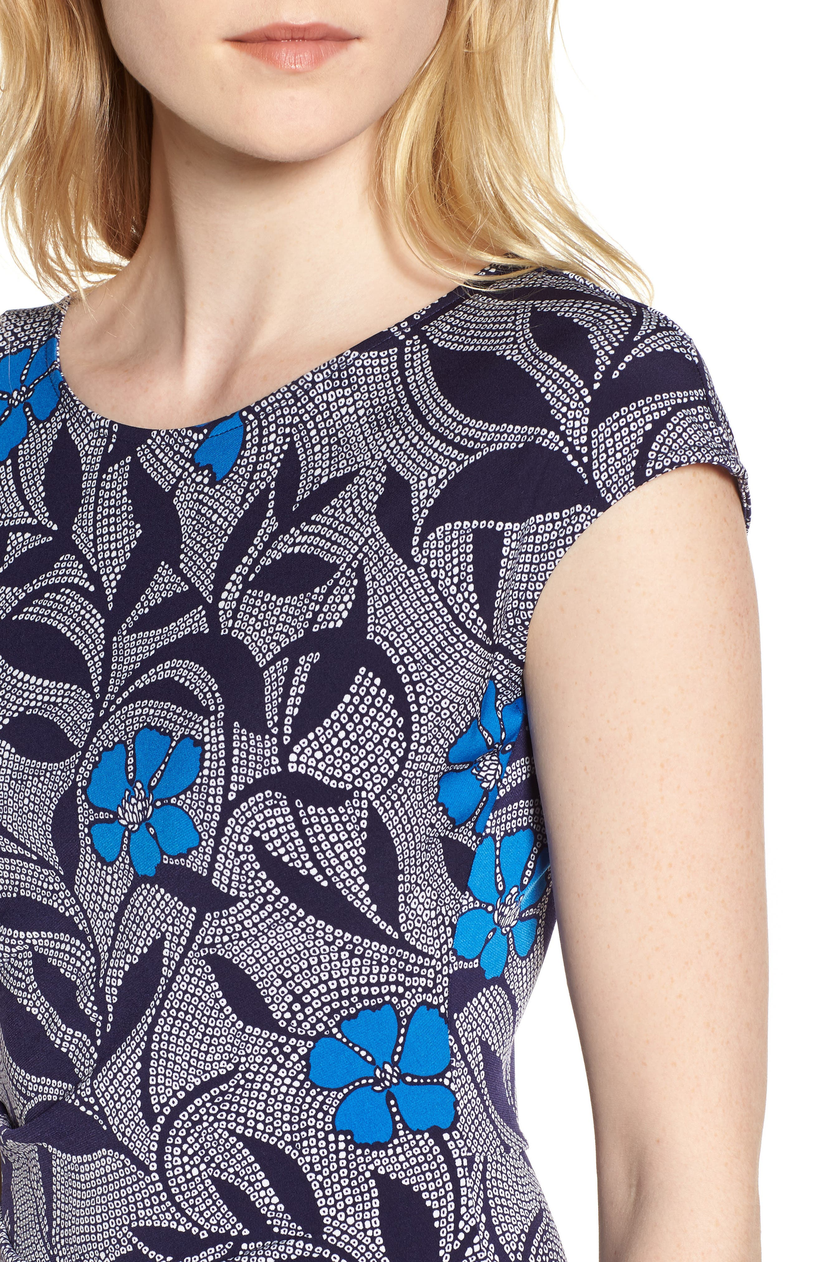 Alternate Image 4  - Chaus Pacific Blooms Stretch Jersey Ruched Dress