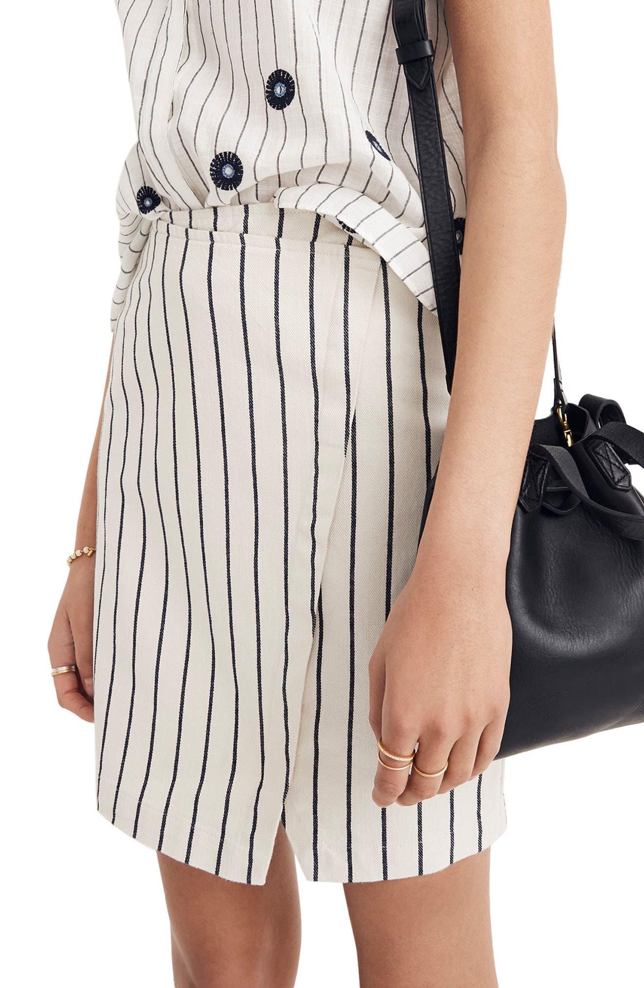 Stripe Faux Wrap Skirt,                             Alternate thumbnail 3, color,                             Canvas