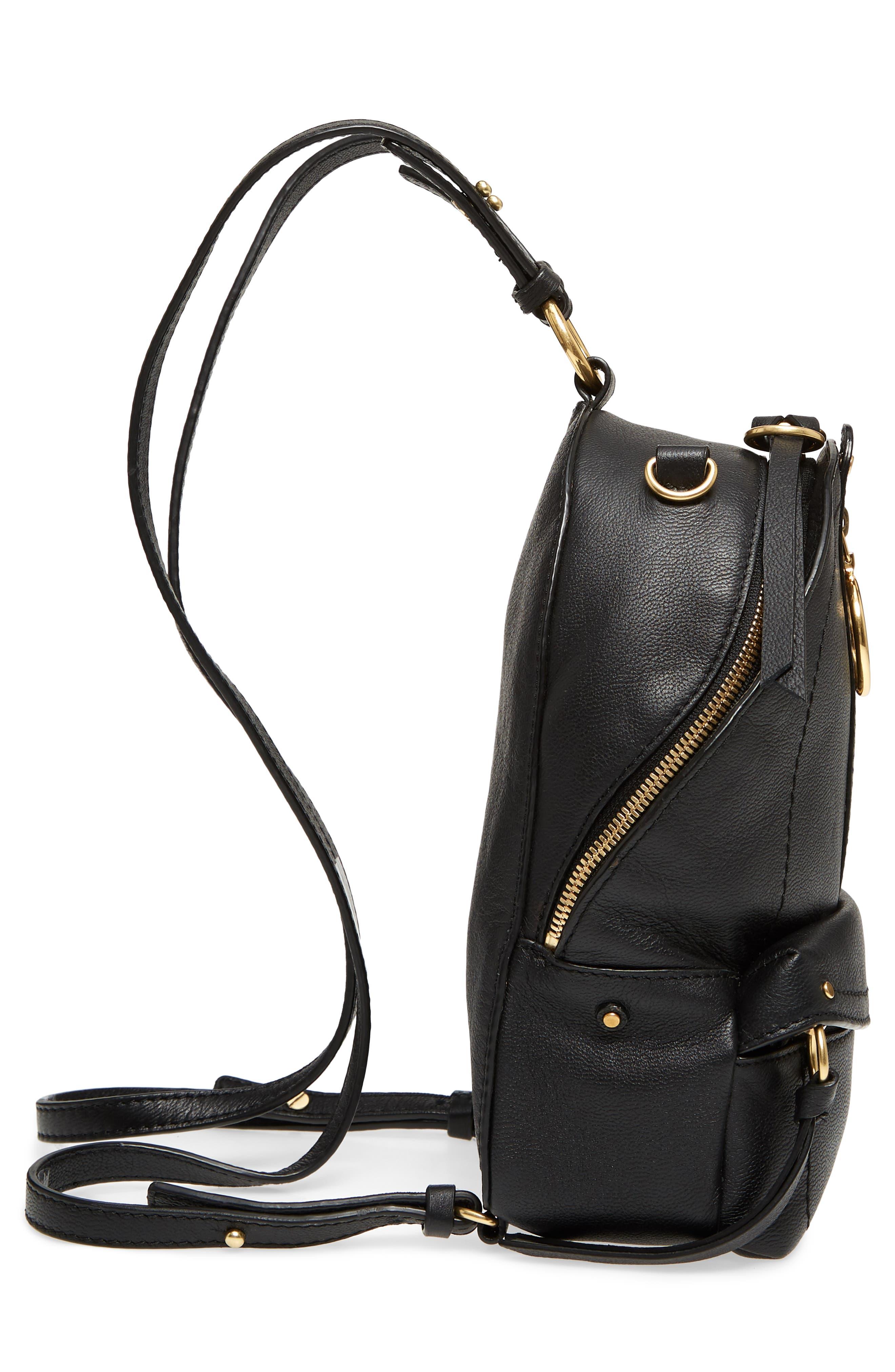 Mini Mino Leather Backpack,                             Alternate thumbnail 4, color,                             Black