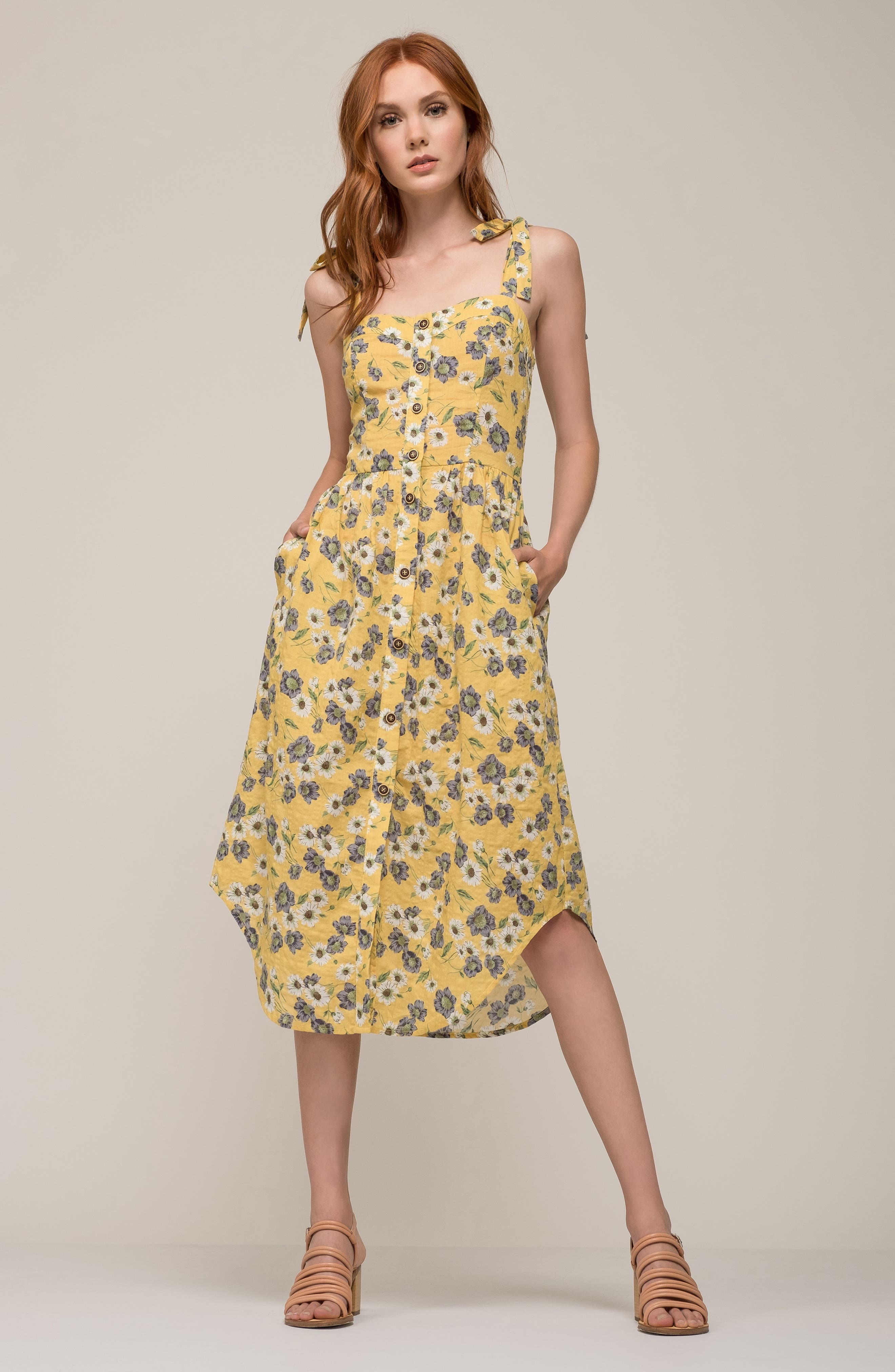 Floral Button Front Sundress,                             Alternate thumbnail 2, color,                             Yellow Floral