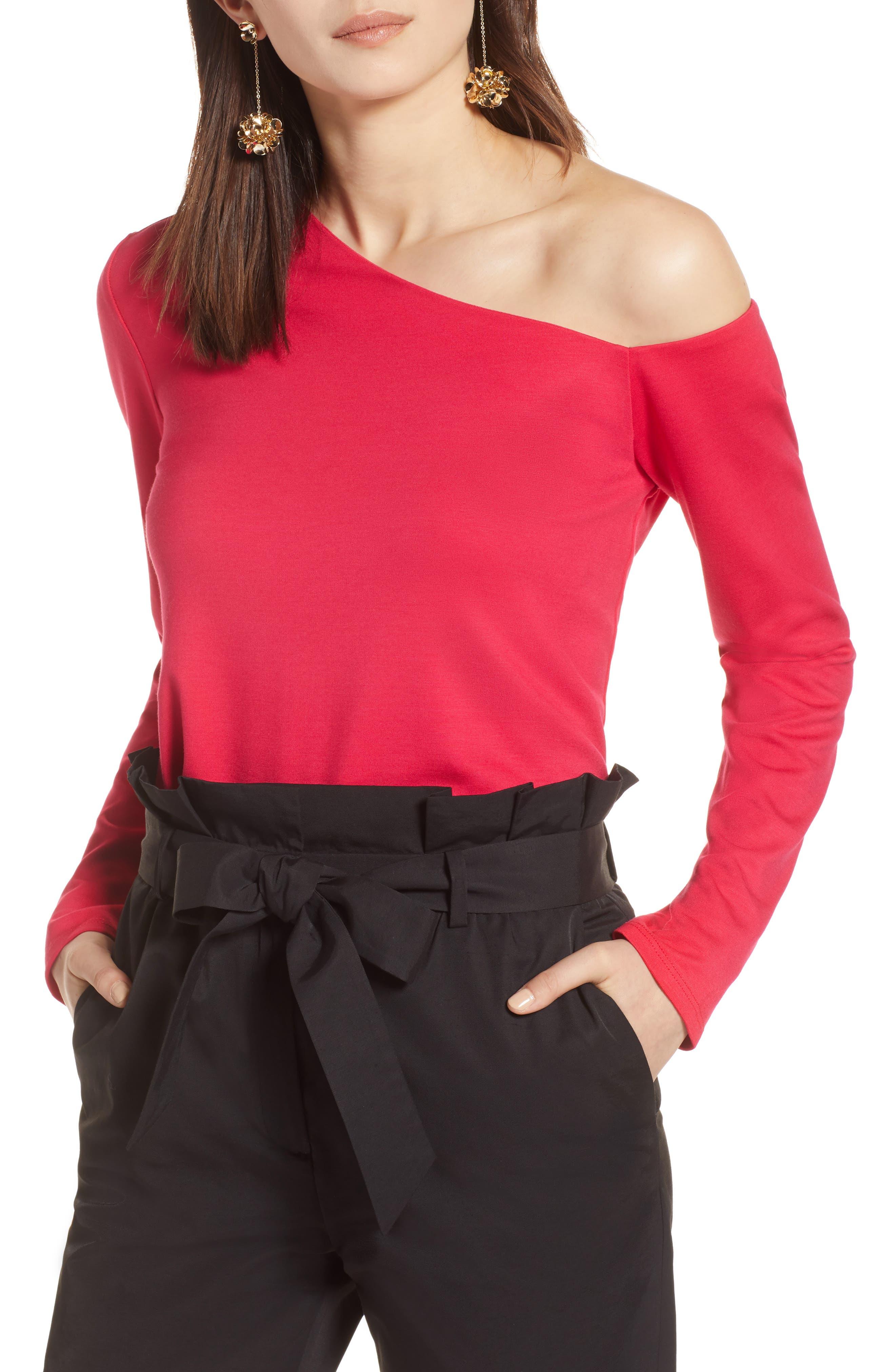 One-Shoulder Knit Tee,                         Main,                         color, Azalea