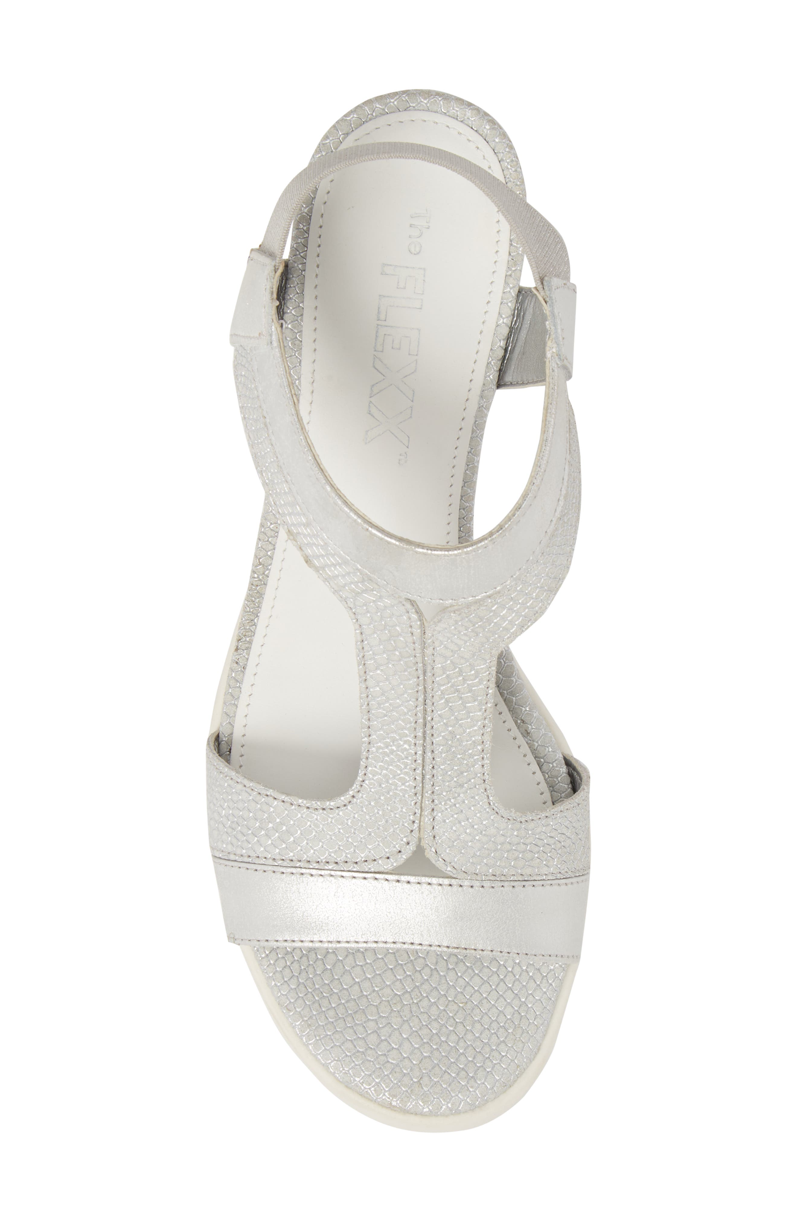 Give A Hoot Wedge Sandal,                             Alternate thumbnail 5, color,                             Silver Leather