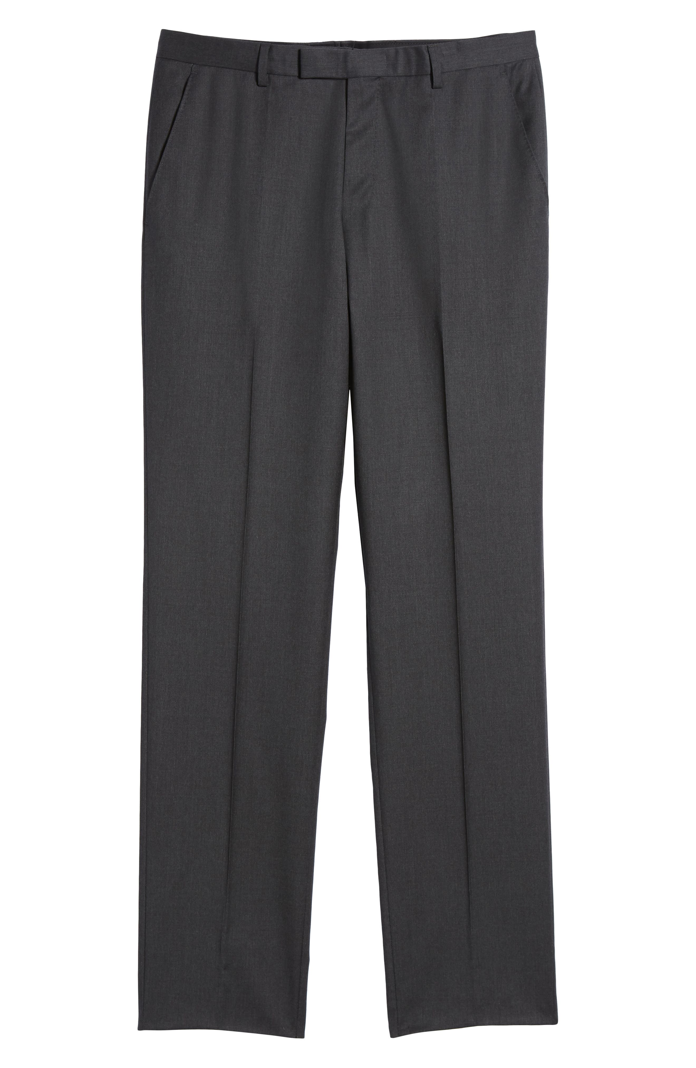 Lenon CYL Flat Front Solid Wool Trousers,                             Alternate thumbnail 6, color,                             Dark Grey