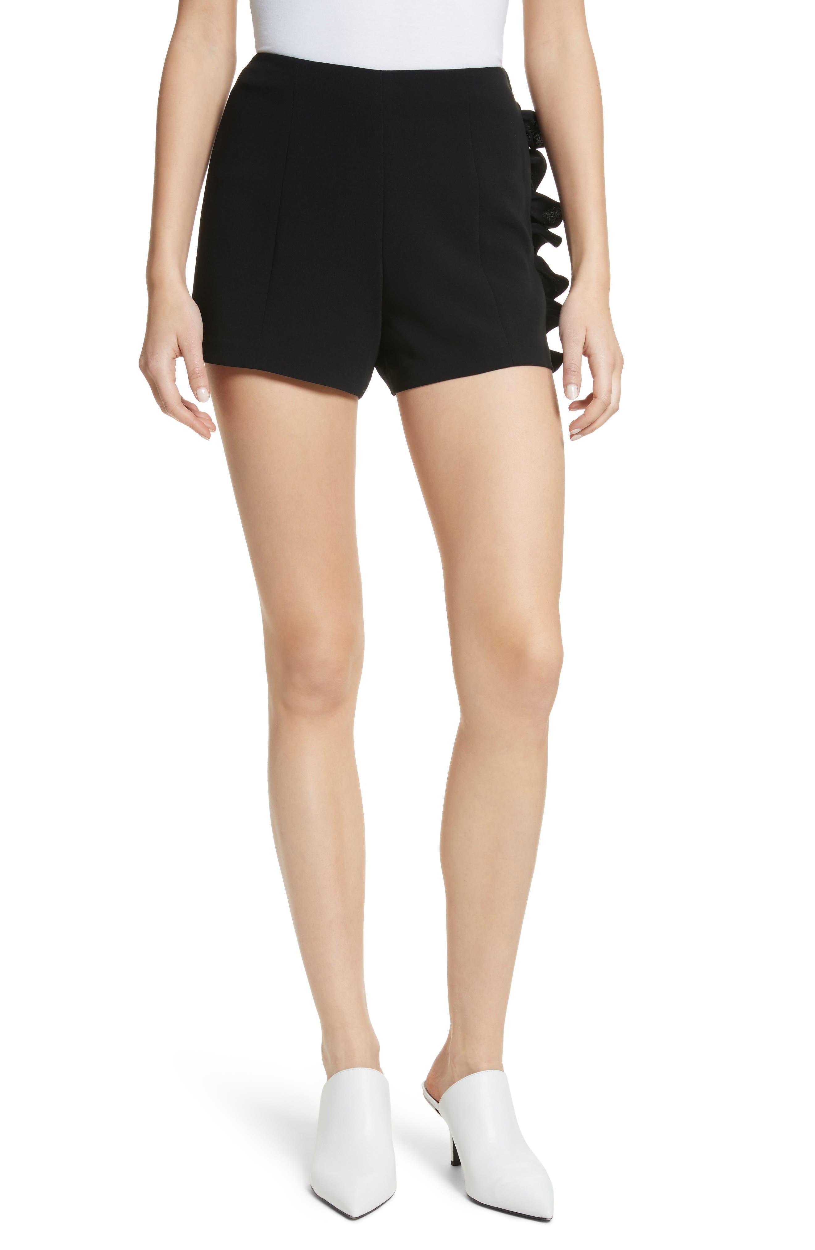 Kenzie Ruffle Side Shorts,                         Main,                         color, Black