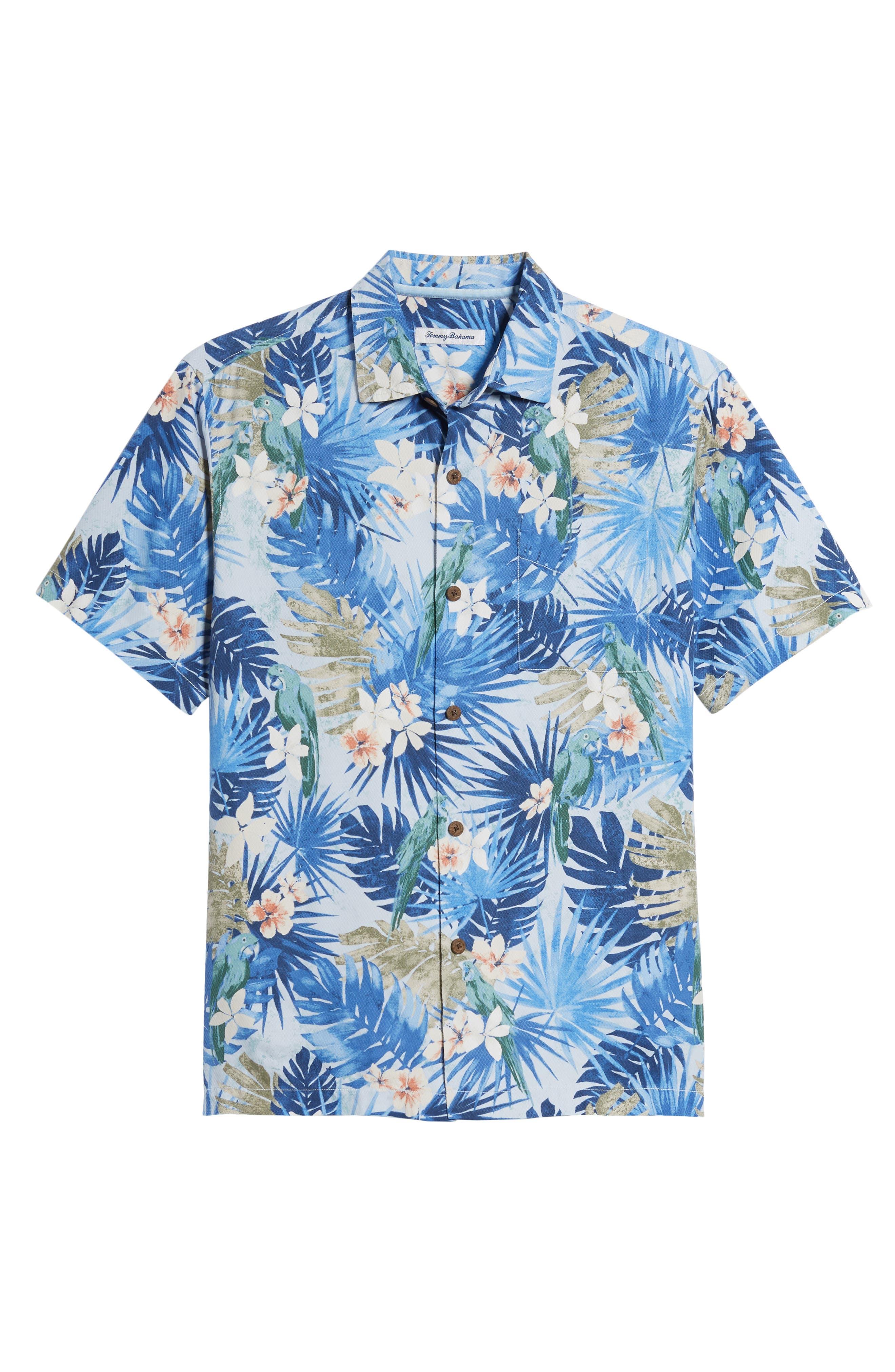 Marino Paradise Silk Camp Shirt,                             Alternate thumbnail 6, color,                             Sky Blue