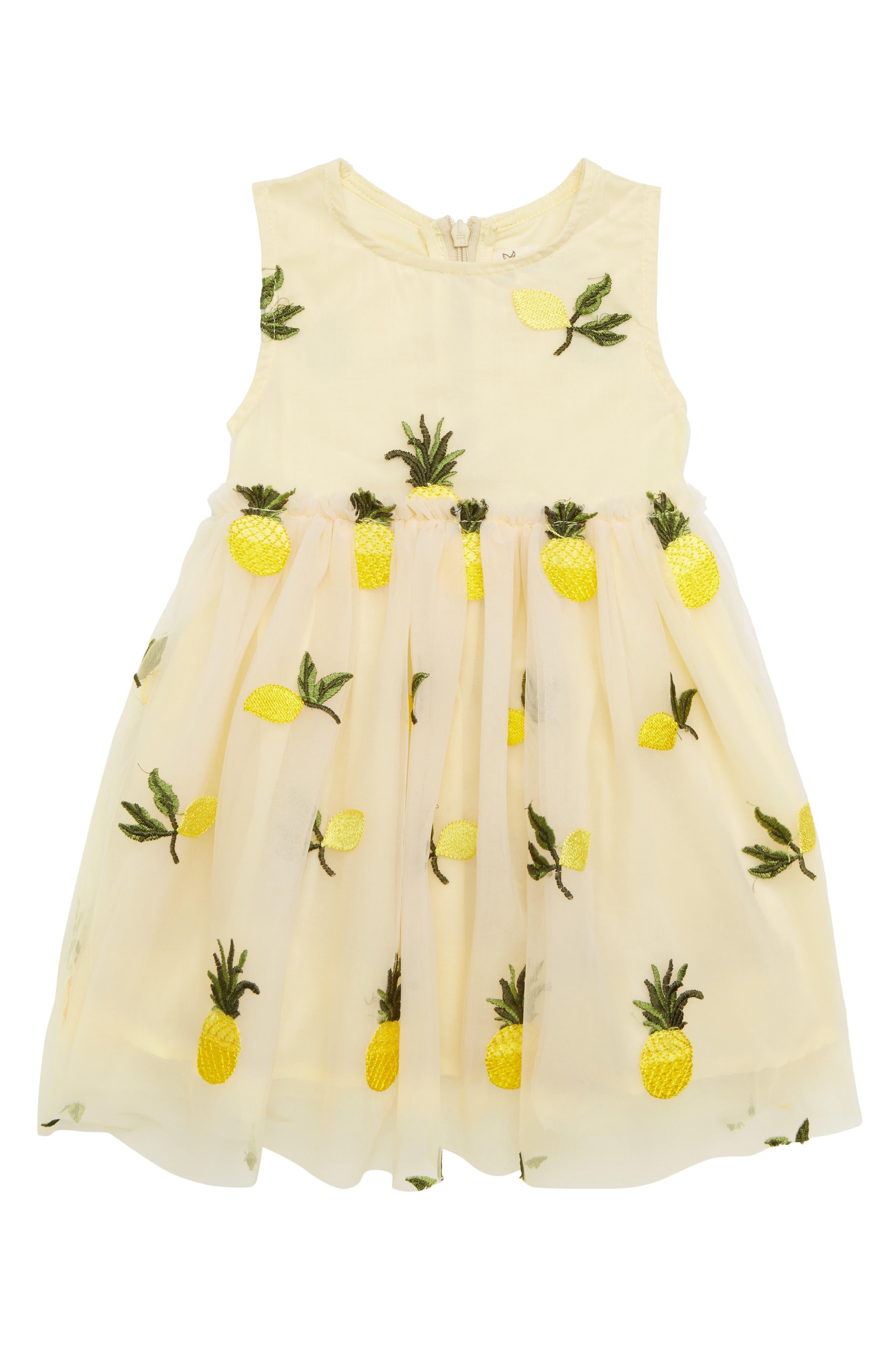 Pineapple & Lemon Embroidered Dress,                         Main,                         color, Tan