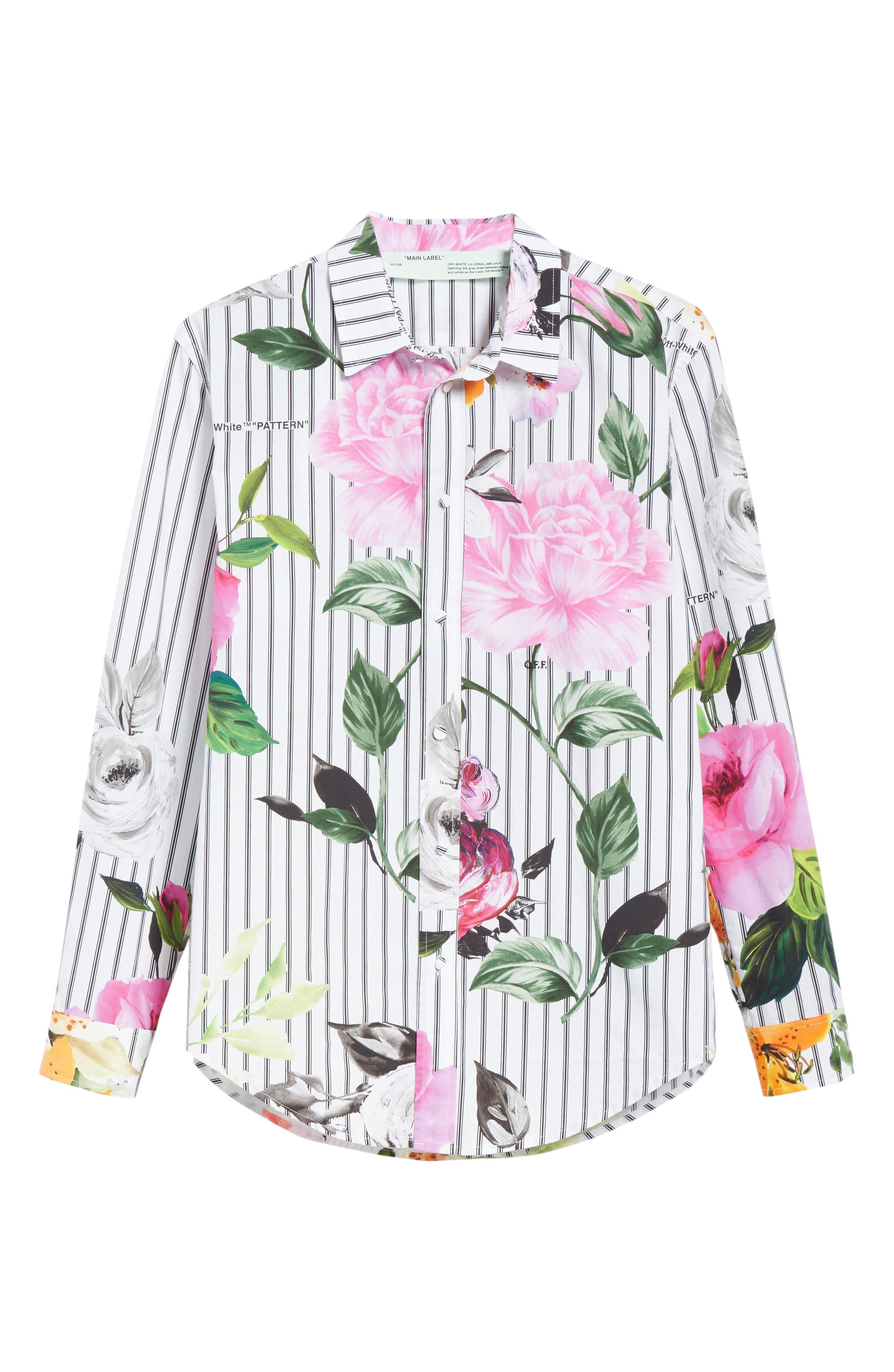 Basic Flower Stripe Shirt,                             Alternate thumbnail 6, color,                             All Over Black