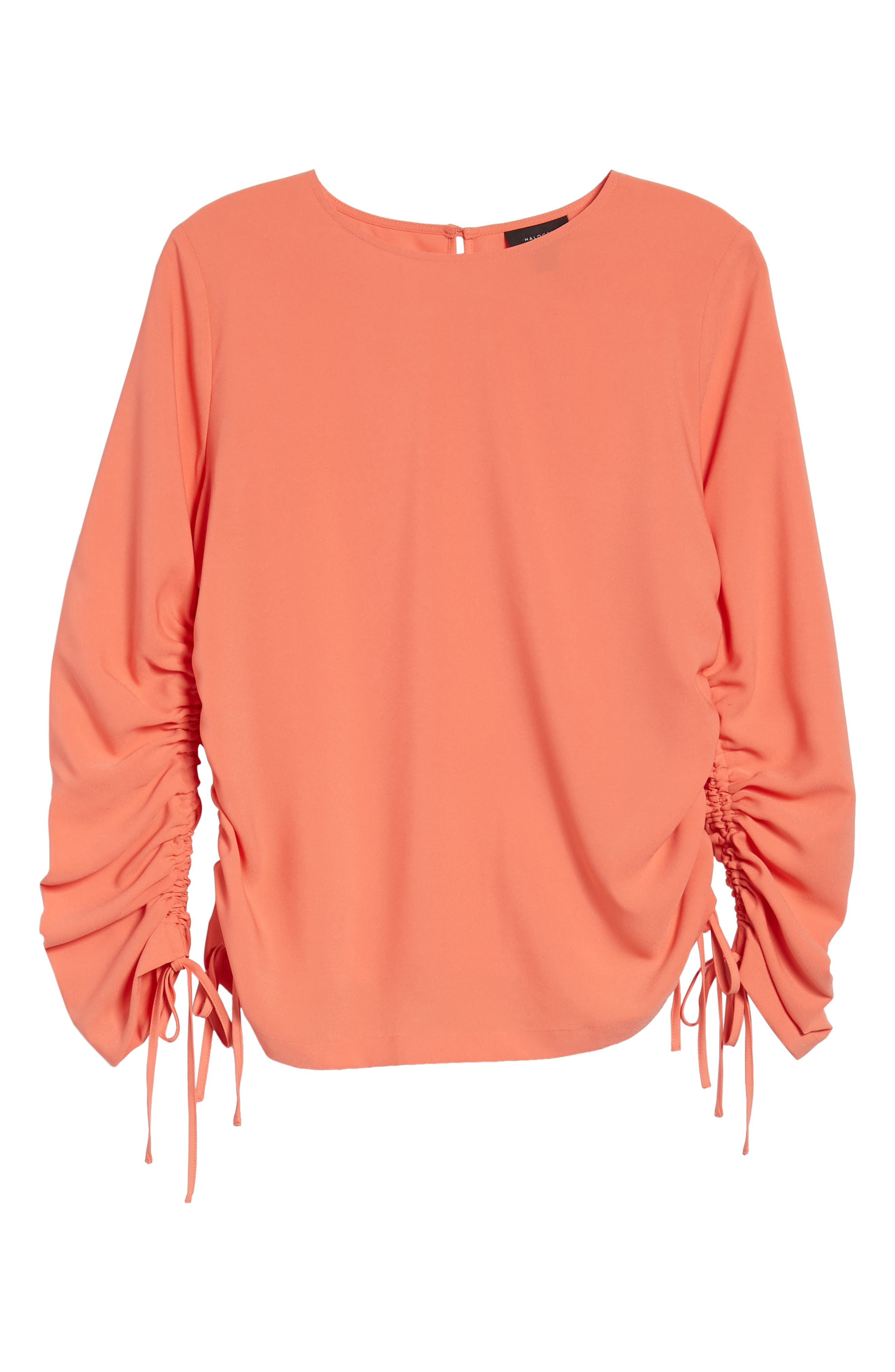 Cinched Sleeve Blouse,                             Alternate thumbnail 7, color,                             Coral Ocean