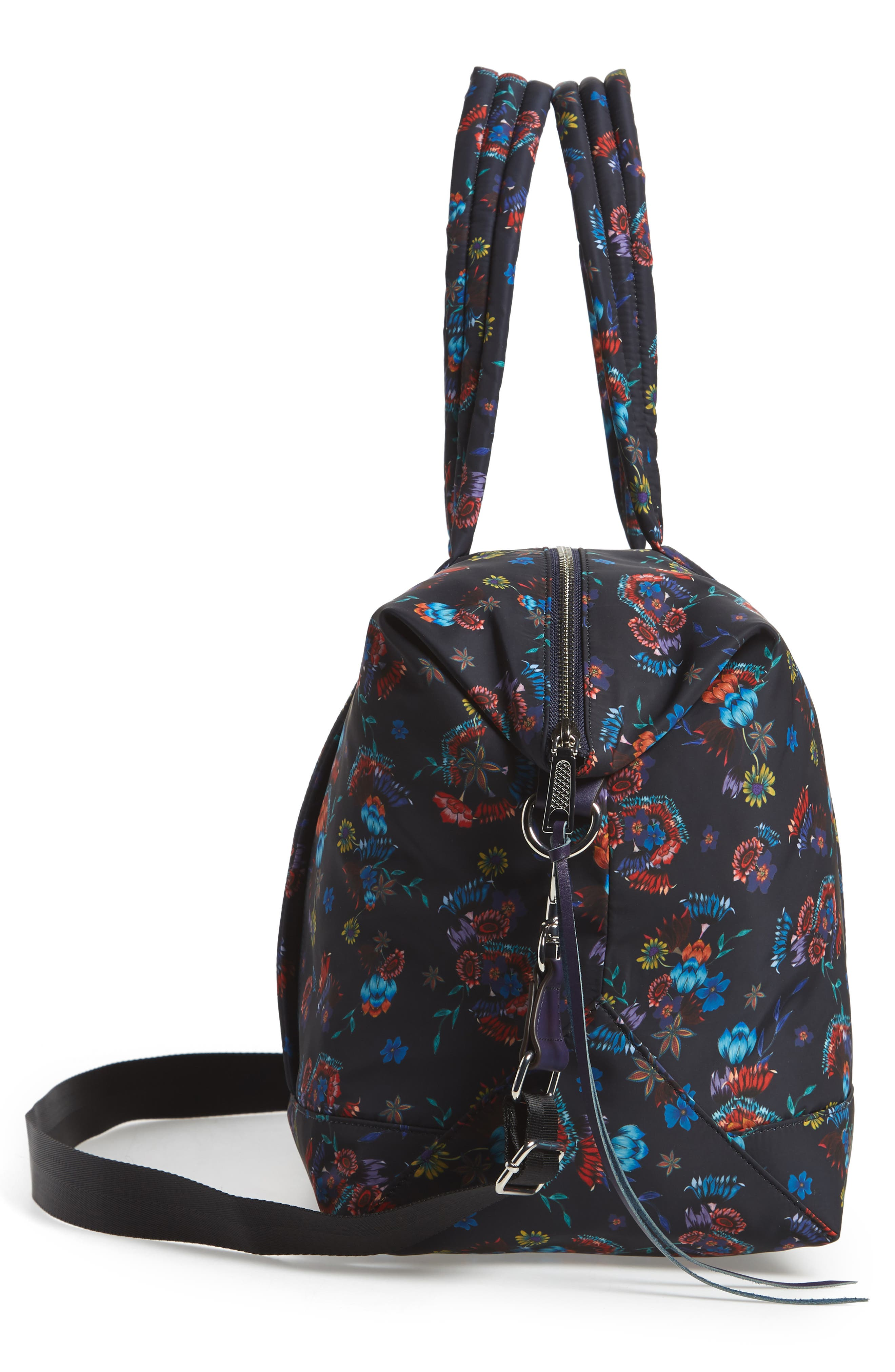 Weekend Nylon Duffel Bag,                             Alternate thumbnail 5, color,                             Floral Blue