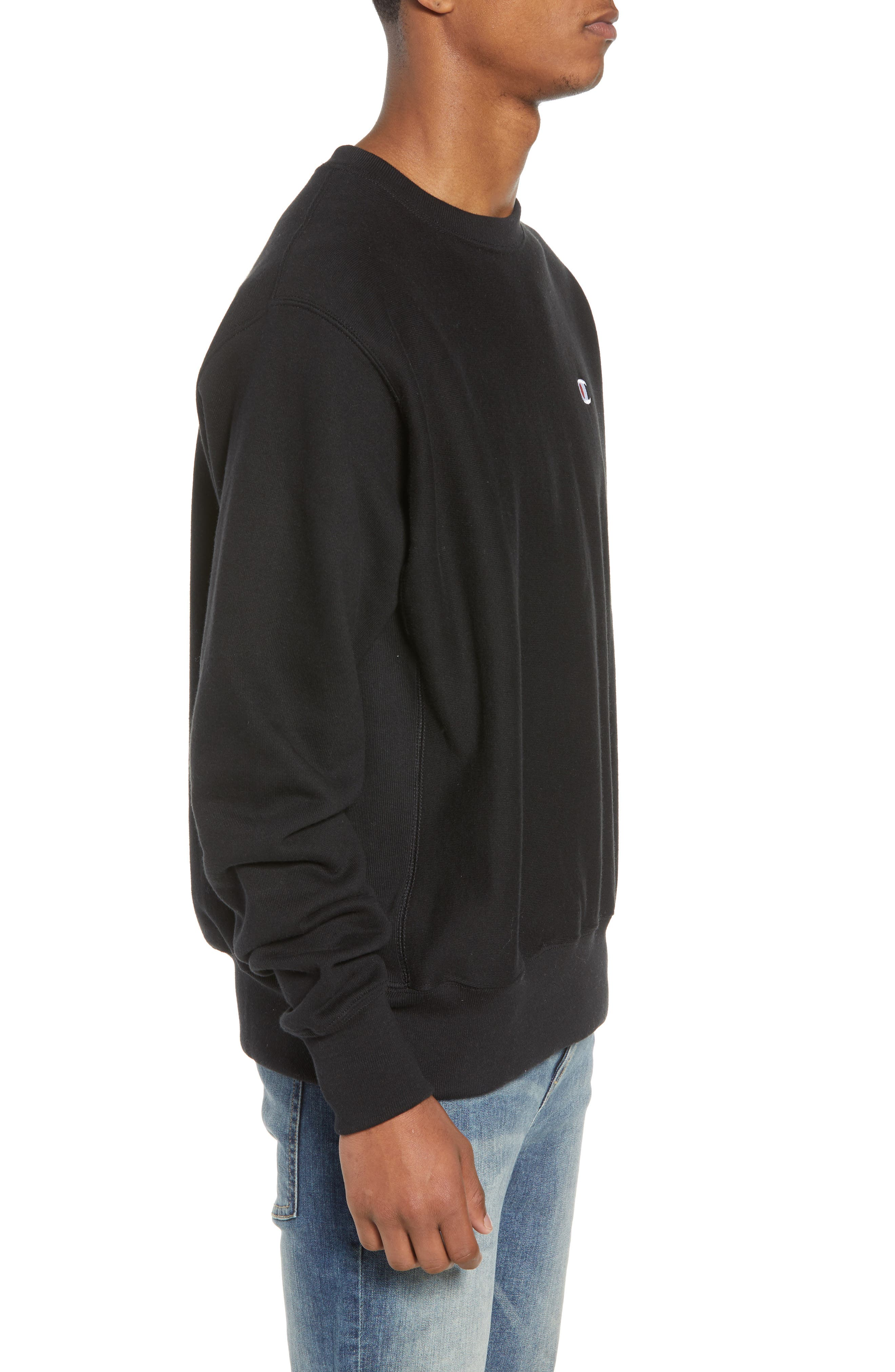 Reverse Weave Sweatshirt,                             Alternate thumbnail 3, color,                             Black