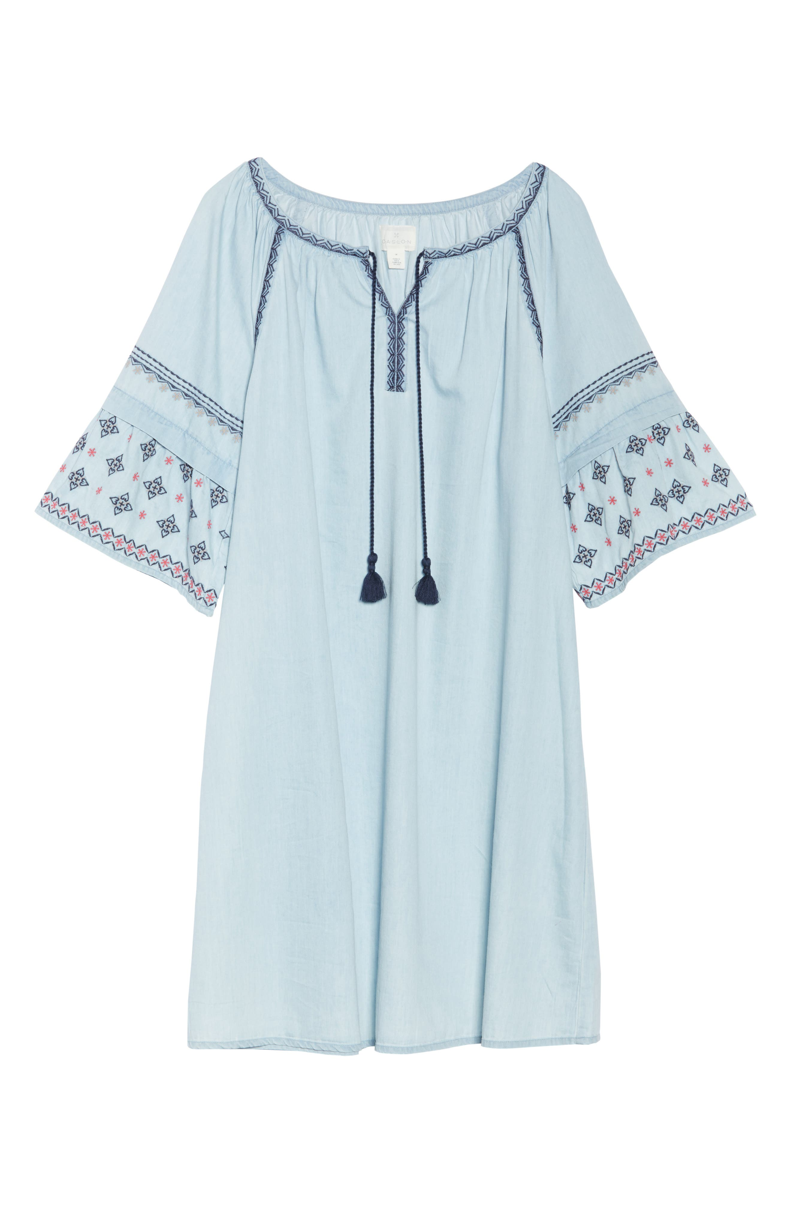 Embroidered Chambray Dress,                             Alternate thumbnail 6, color,                             Spectrum Wash