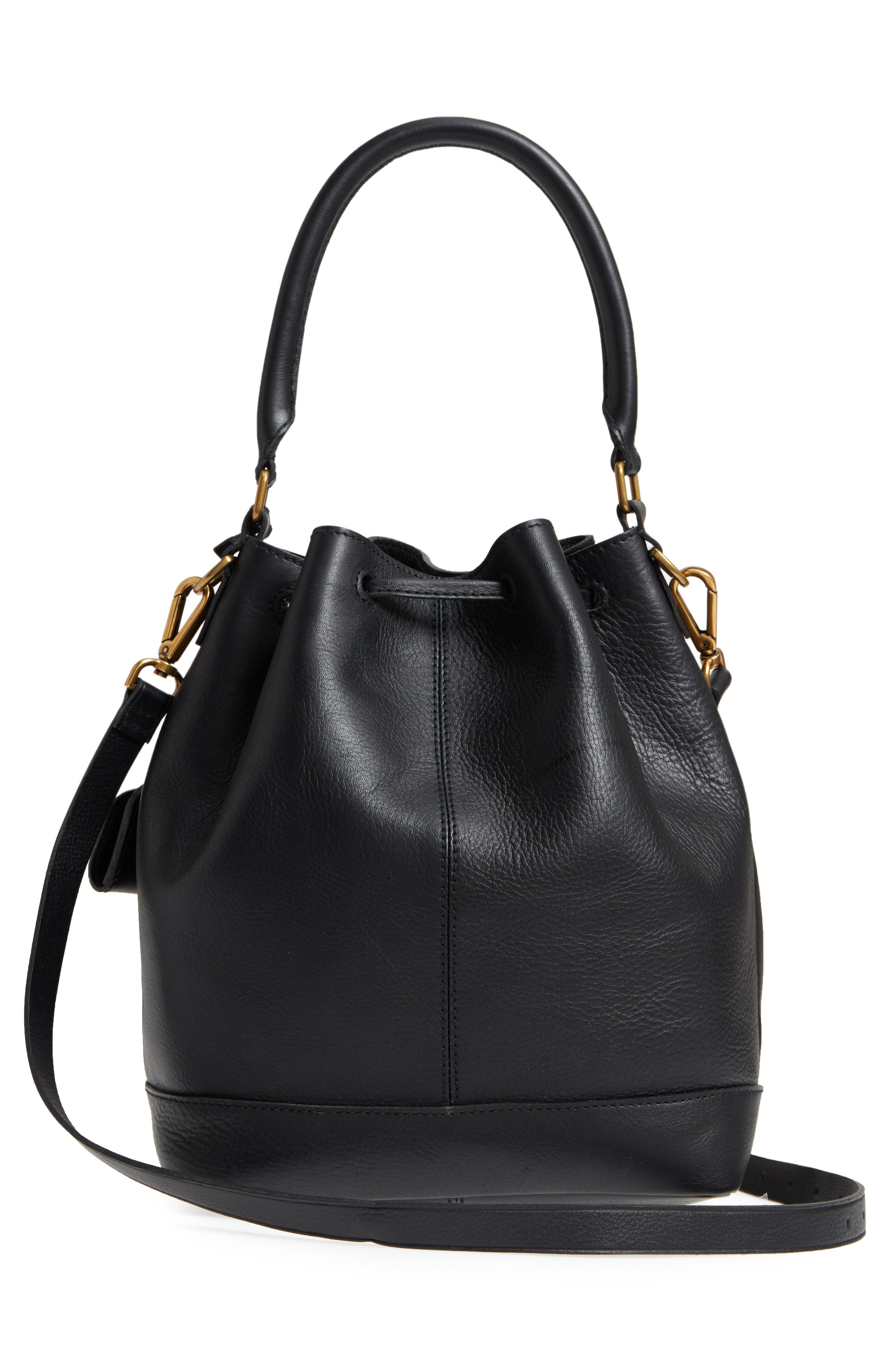 Lafayette Leather Bucket Bag,                             Alternate thumbnail 3, color,                             True Black